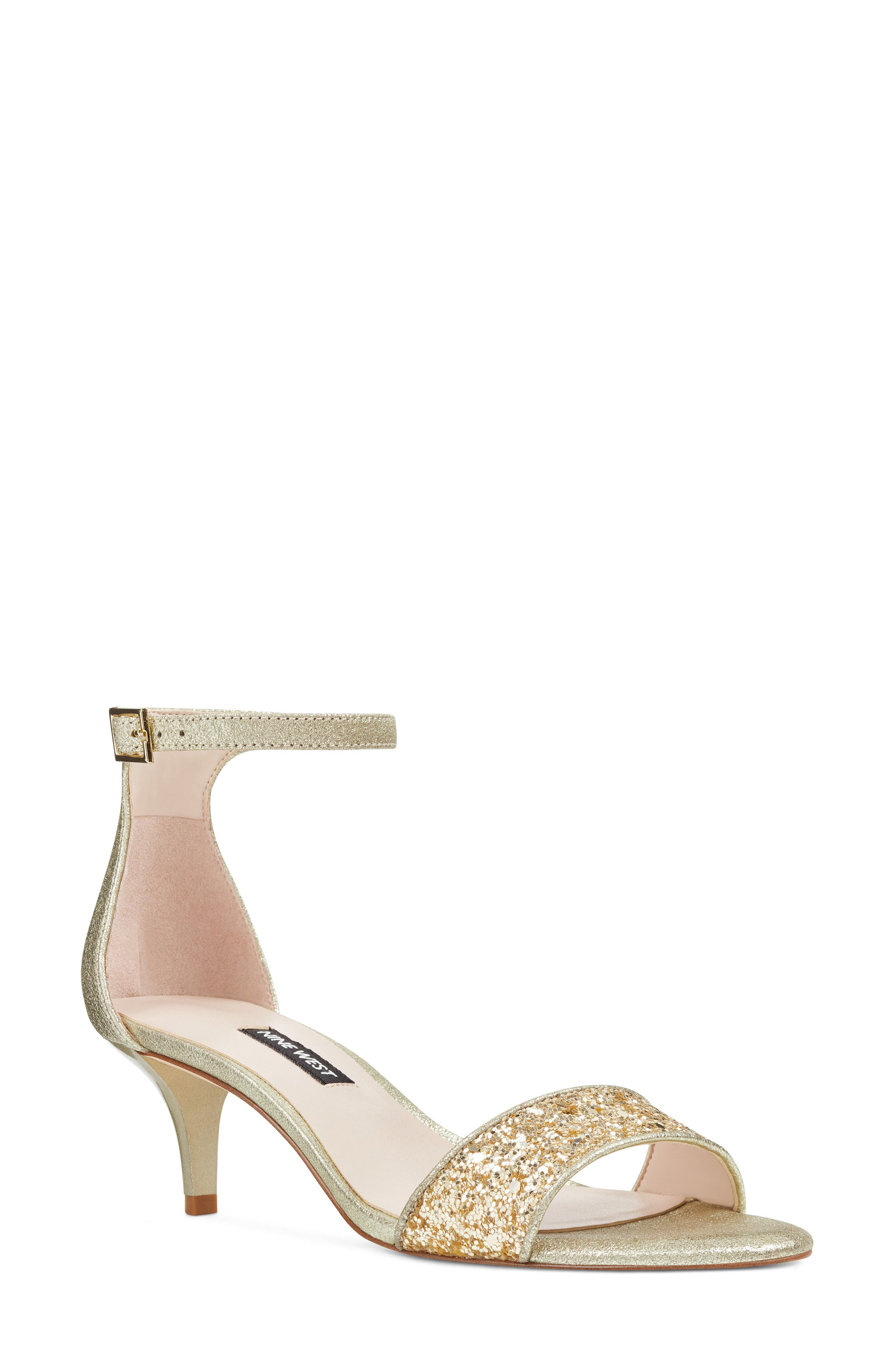 'Leisa' Ankle Strap Sandal,                             Main thumbnail 1, color,                             Light Gold Fabric