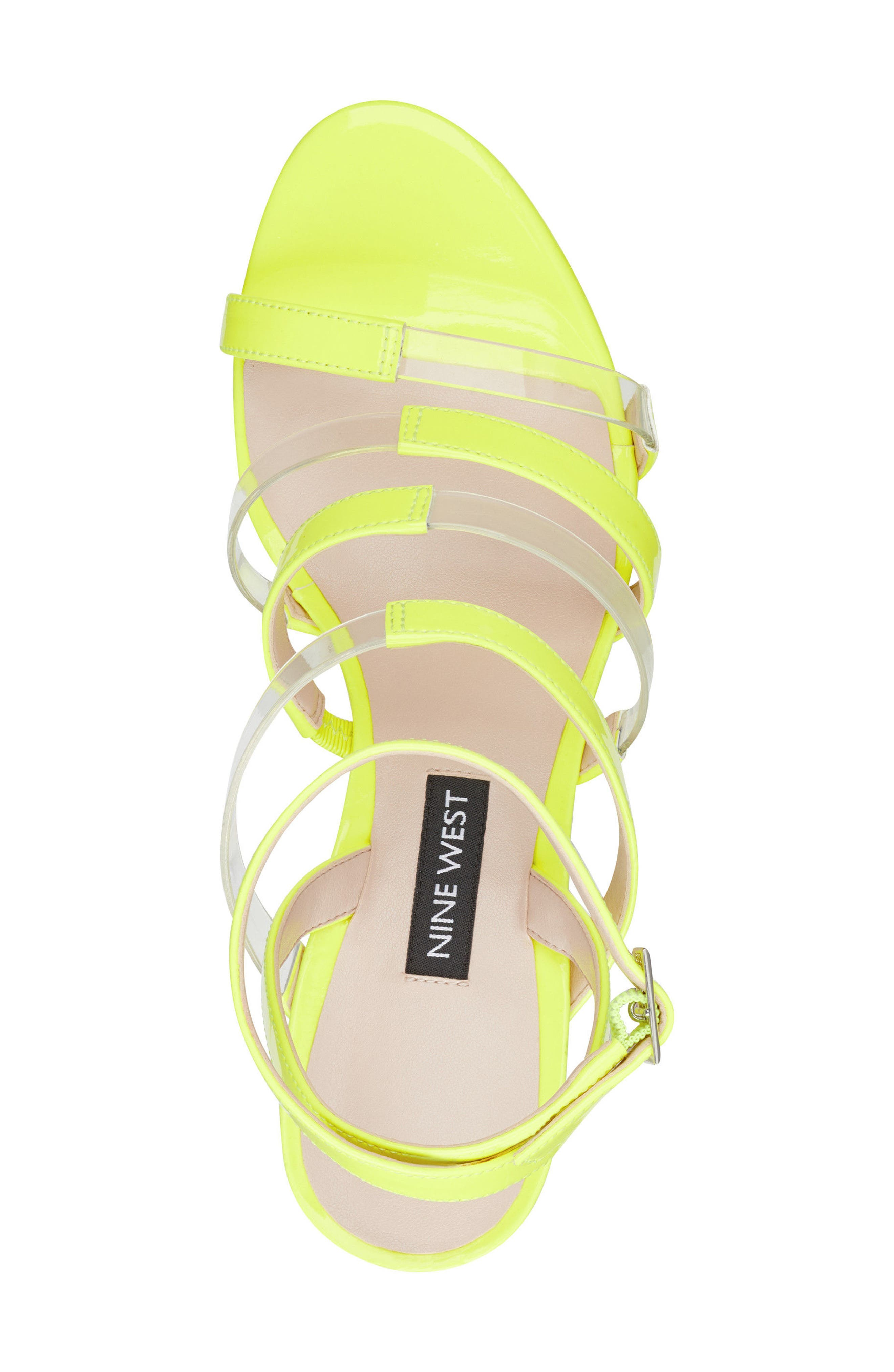 Fazzani Cage Sandal,                             Alternate thumbnail 5, color,                             Clear/ Yellow Faux Leather