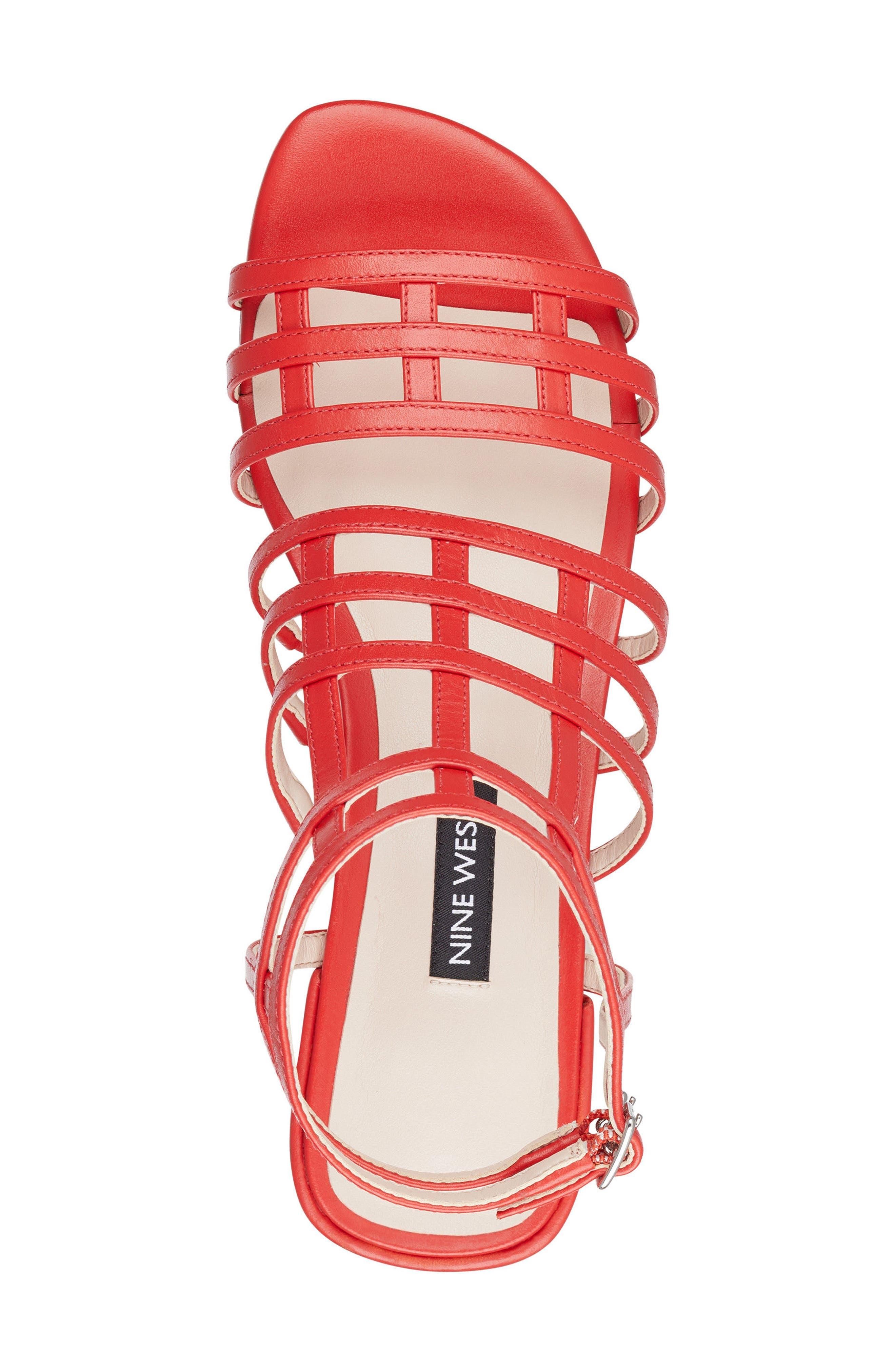 Xerxes Sandal,                             Alternate thumbnail 5, color,                             Red Leather