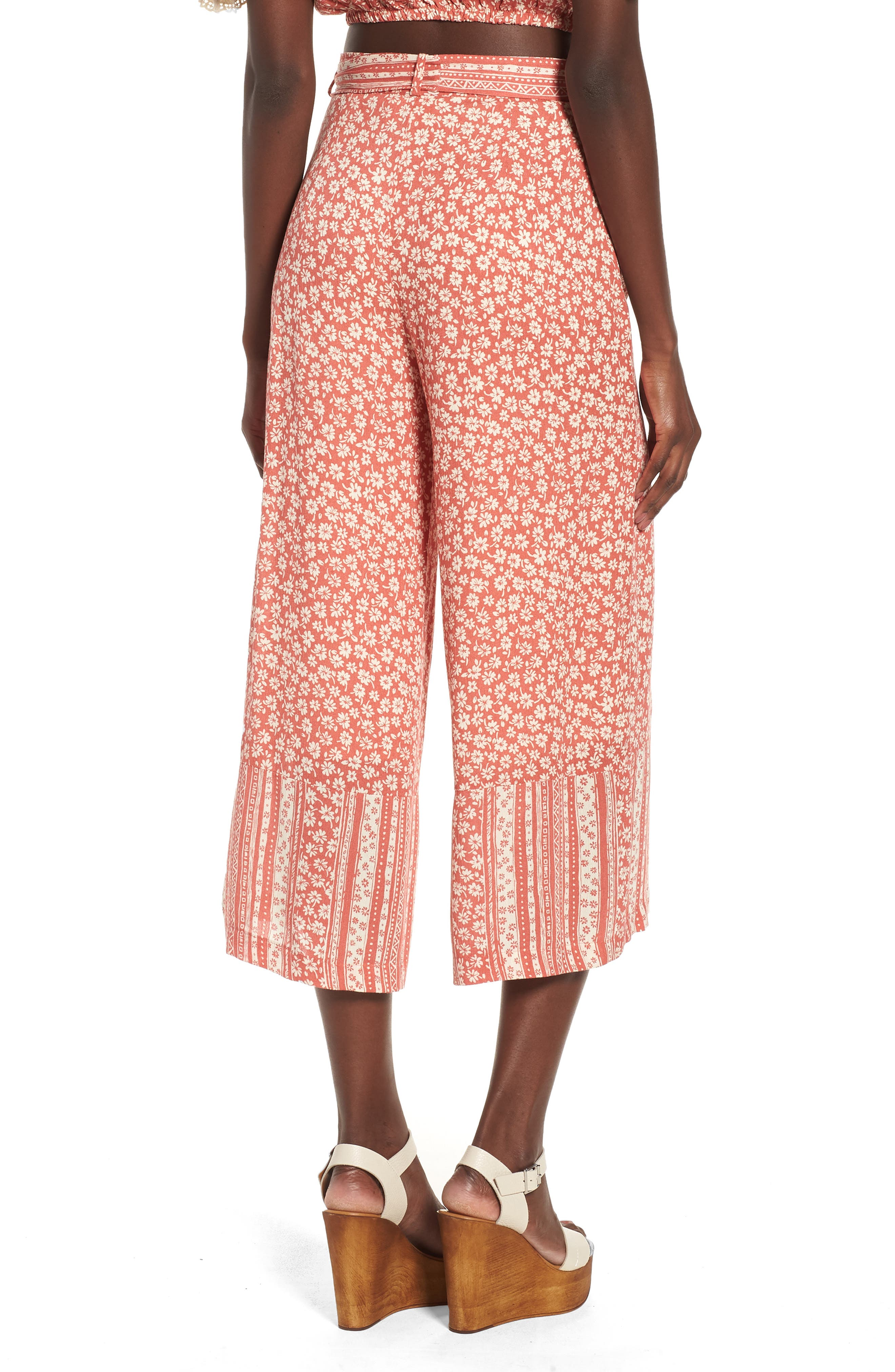 Sun's Out Tie Waist Culottes,                             Alternate thumbnail 4, color,                             Coral