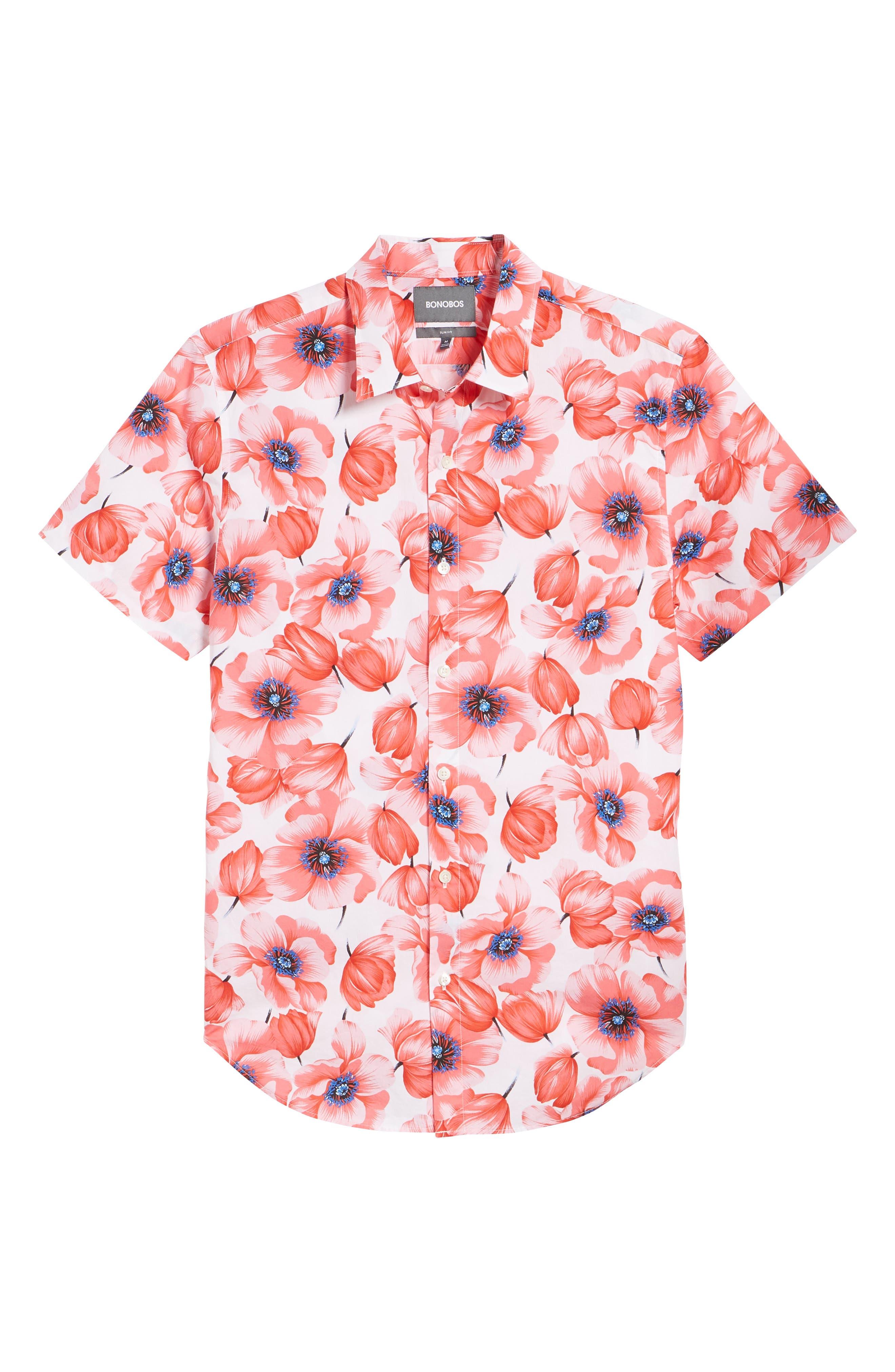 Premium Slim Fit Print Short Sleeve Sport Shirt,                             Alternate thumbnail 6, color,                             Tango Floral - Orange County