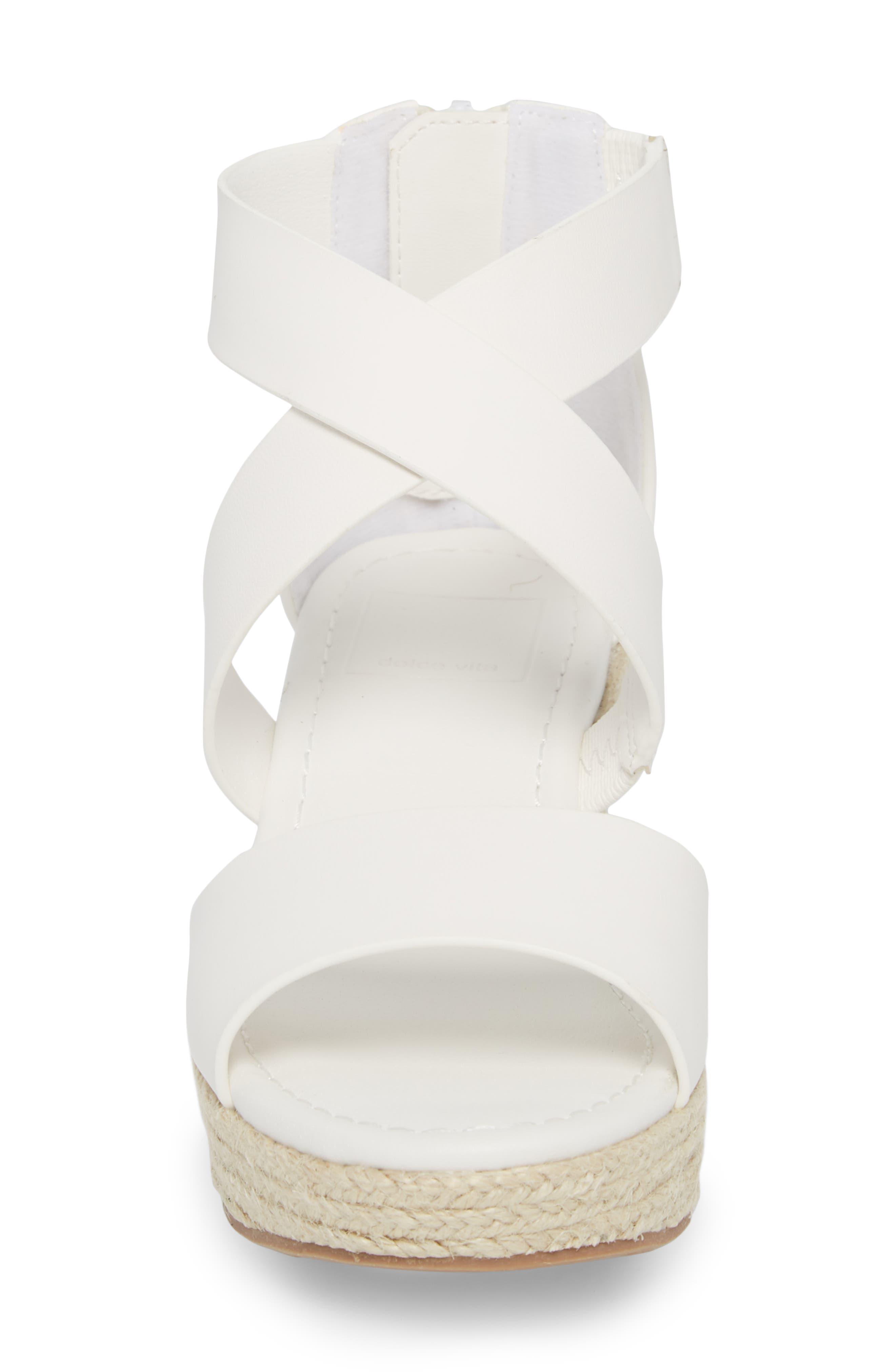 Wilma Platform Wedge Sandal,                             Alternate thumbnail 4, color,                             White