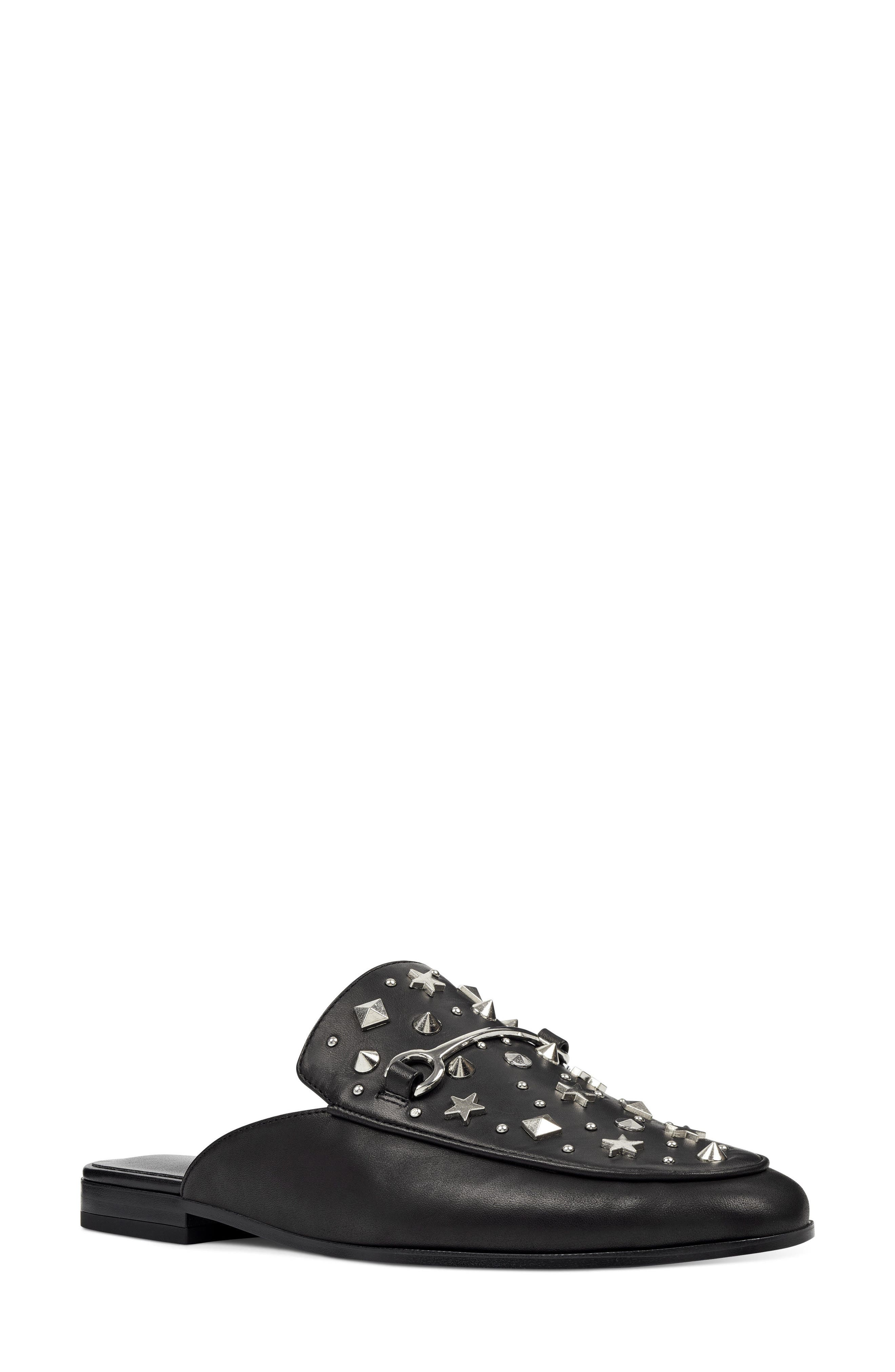 Welynne Mule,                         Main,                         color, Black Leather