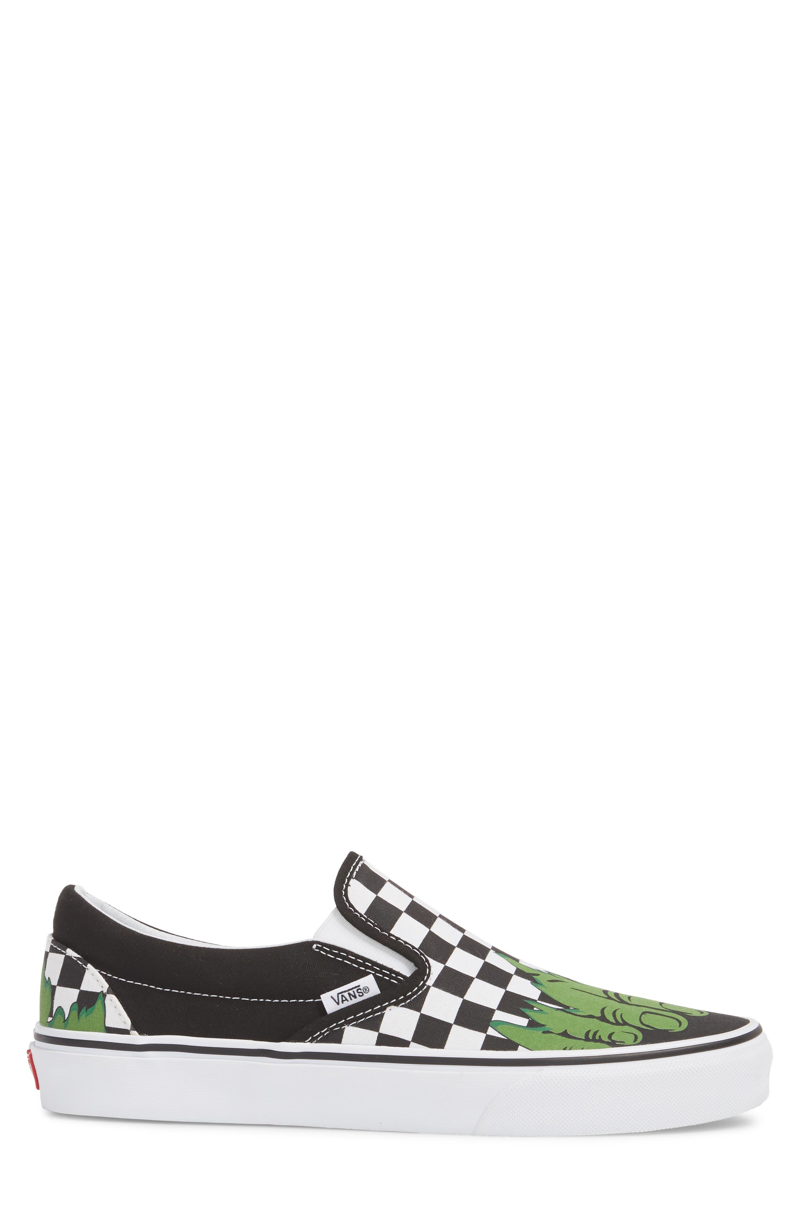 Marvel UA Classic Slip-On Sneaker,                             Alternate thumbnail 4, color,                             Checkerboard Textile