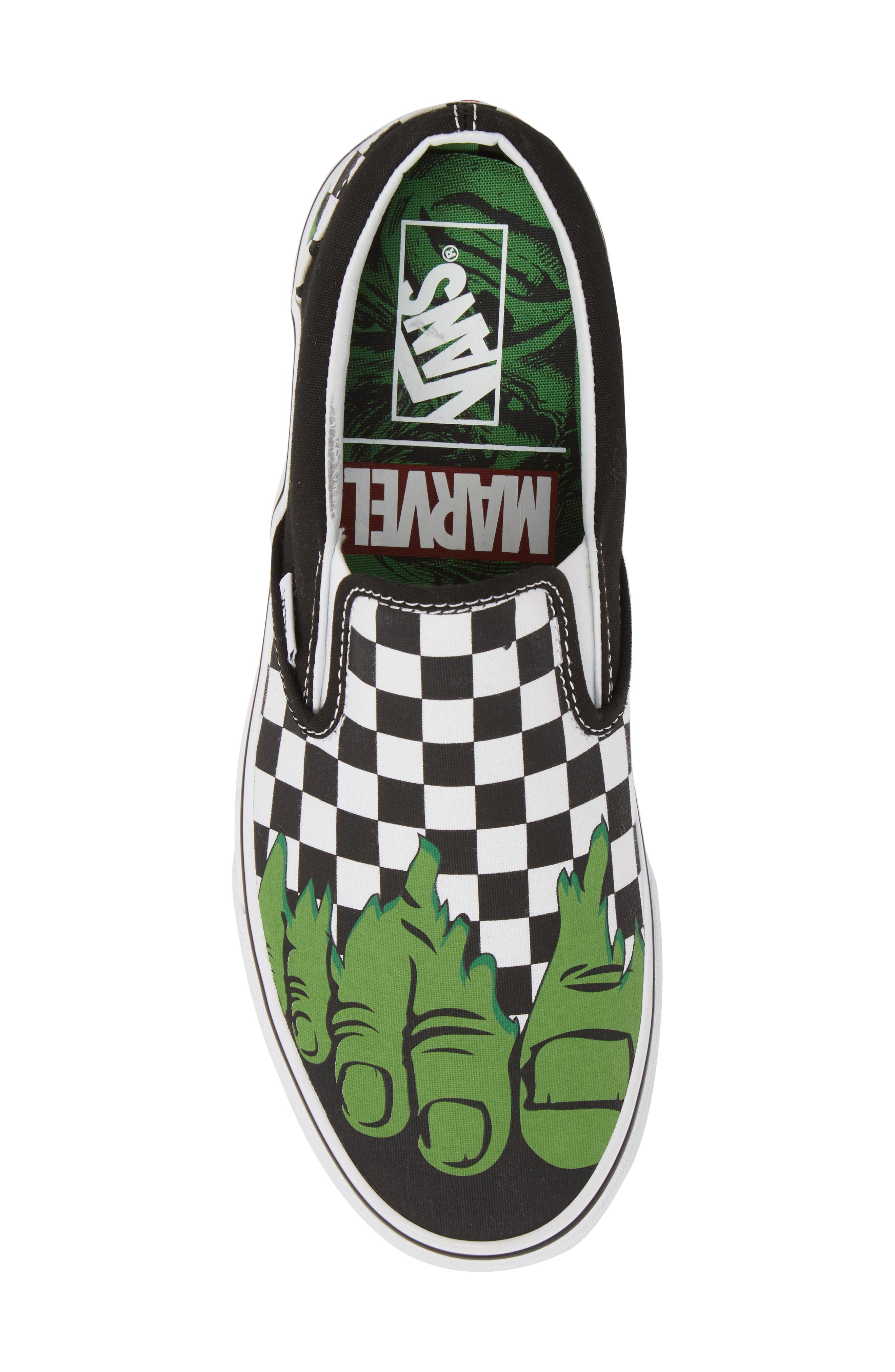 Marvel UA Classic Slip-On Sneaker,                             Alternate thumbnail 3, color,                             Checkerboard Textile