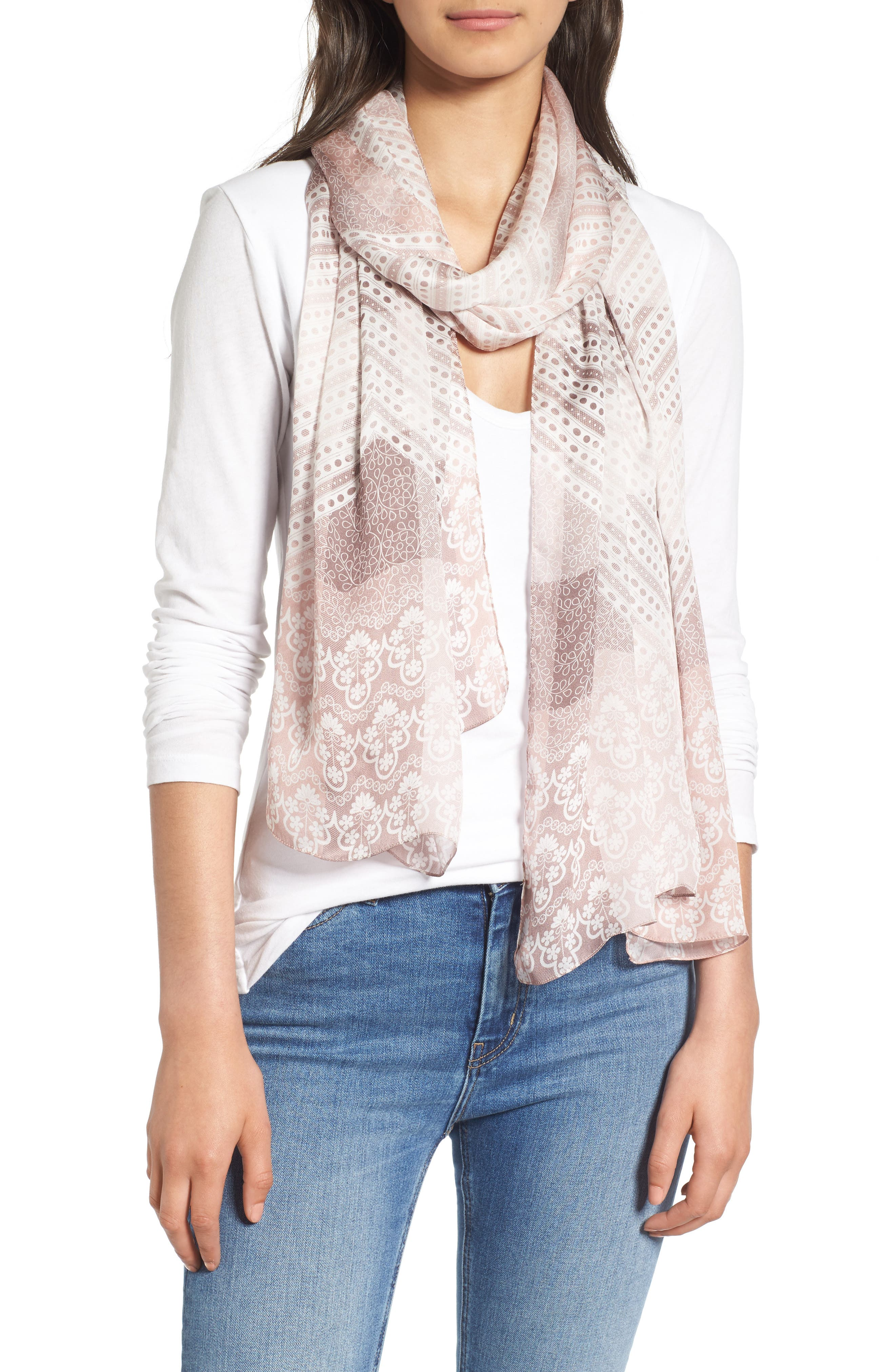 Ultra Mega Lace Silk Scarf,                             Alternate thumbnail 2, color,                             Ash Rose Pink