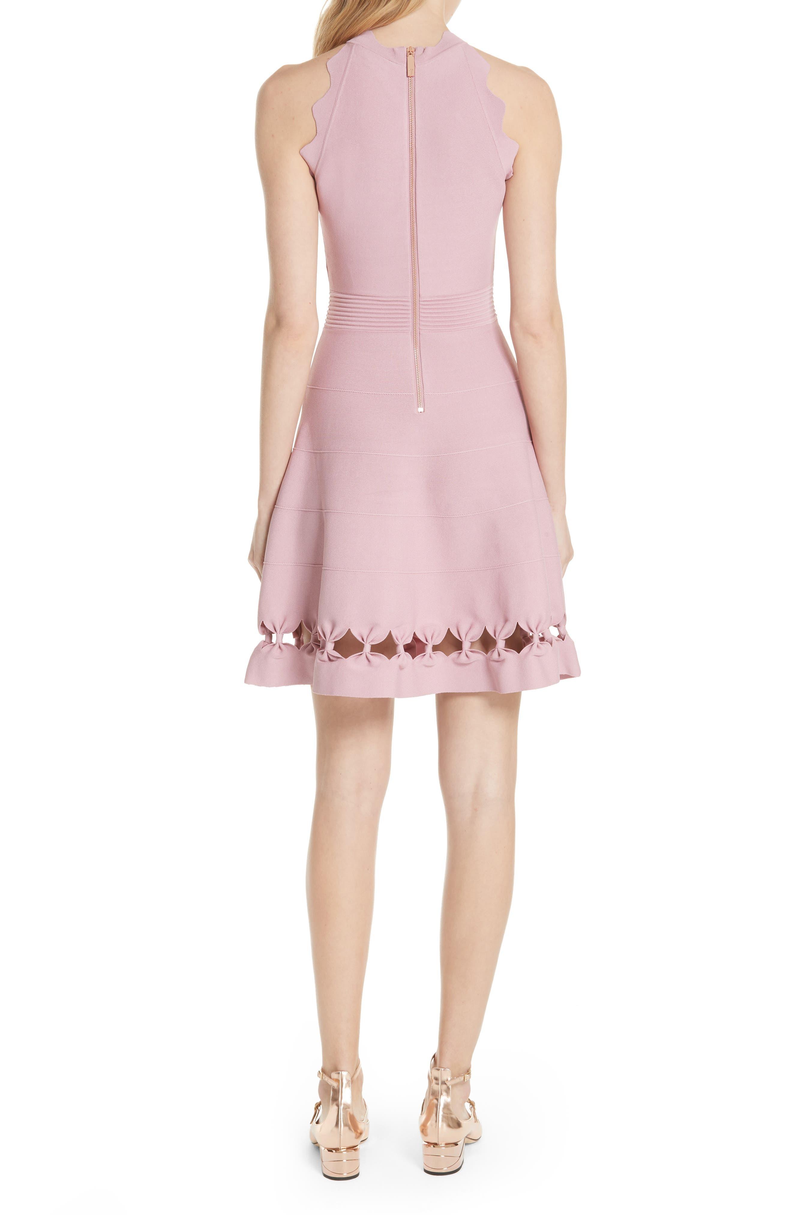 Bow Detail Knit Fit & Flare Dress,                             Alternate thumbnail 2, color,                             Dusky Pink