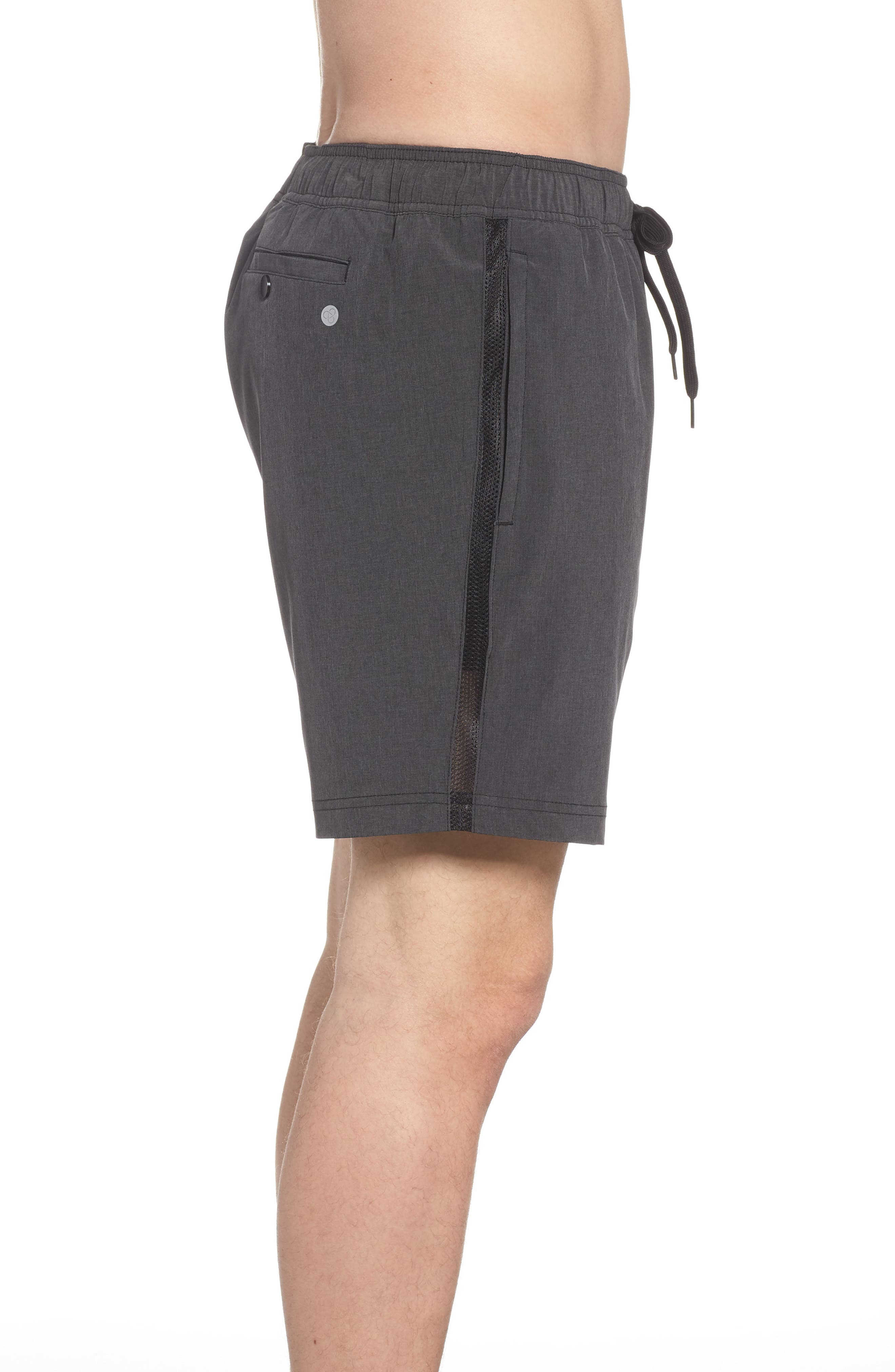 Stretch Swim Trunks,                             Alternate thumbnail 3, color,                             Black Oxide Heather