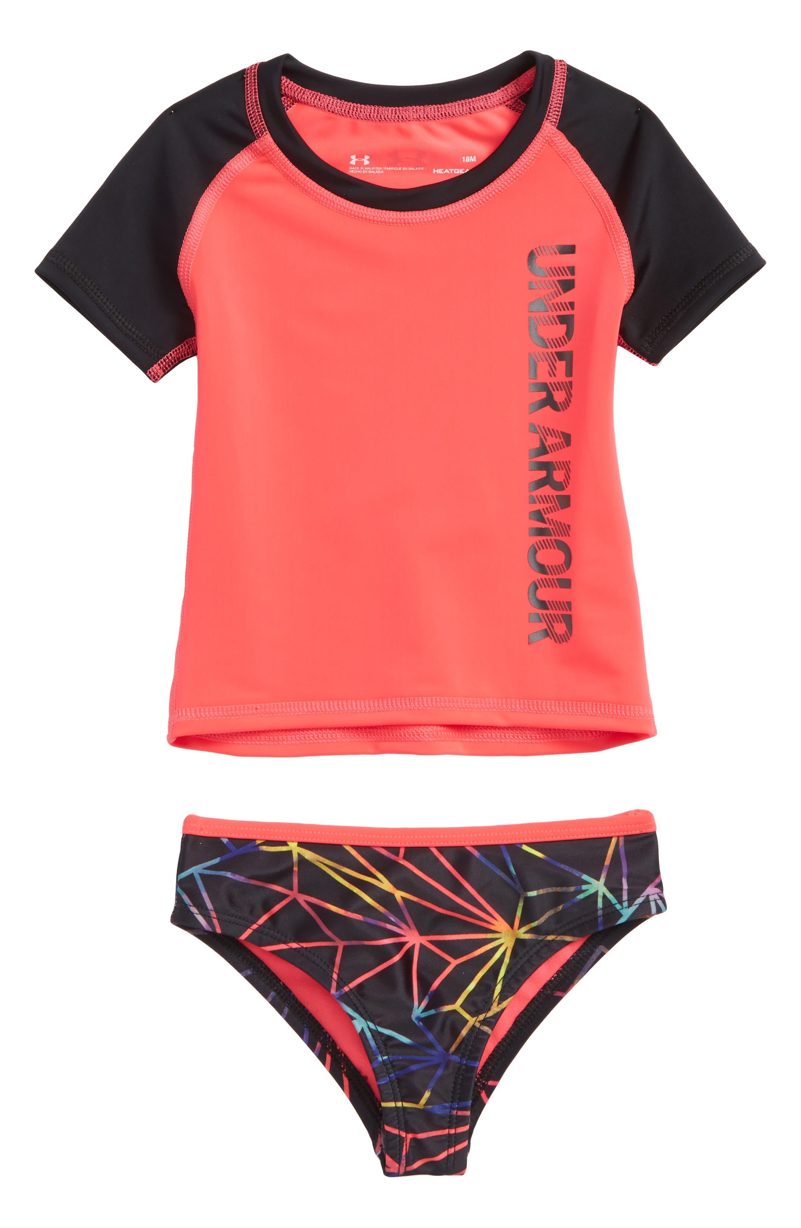 Poly Prism HeatGear<sup>®</sup> Two-Piece Rashguard Swimsuit,                         Main,                         color, Penta Pink