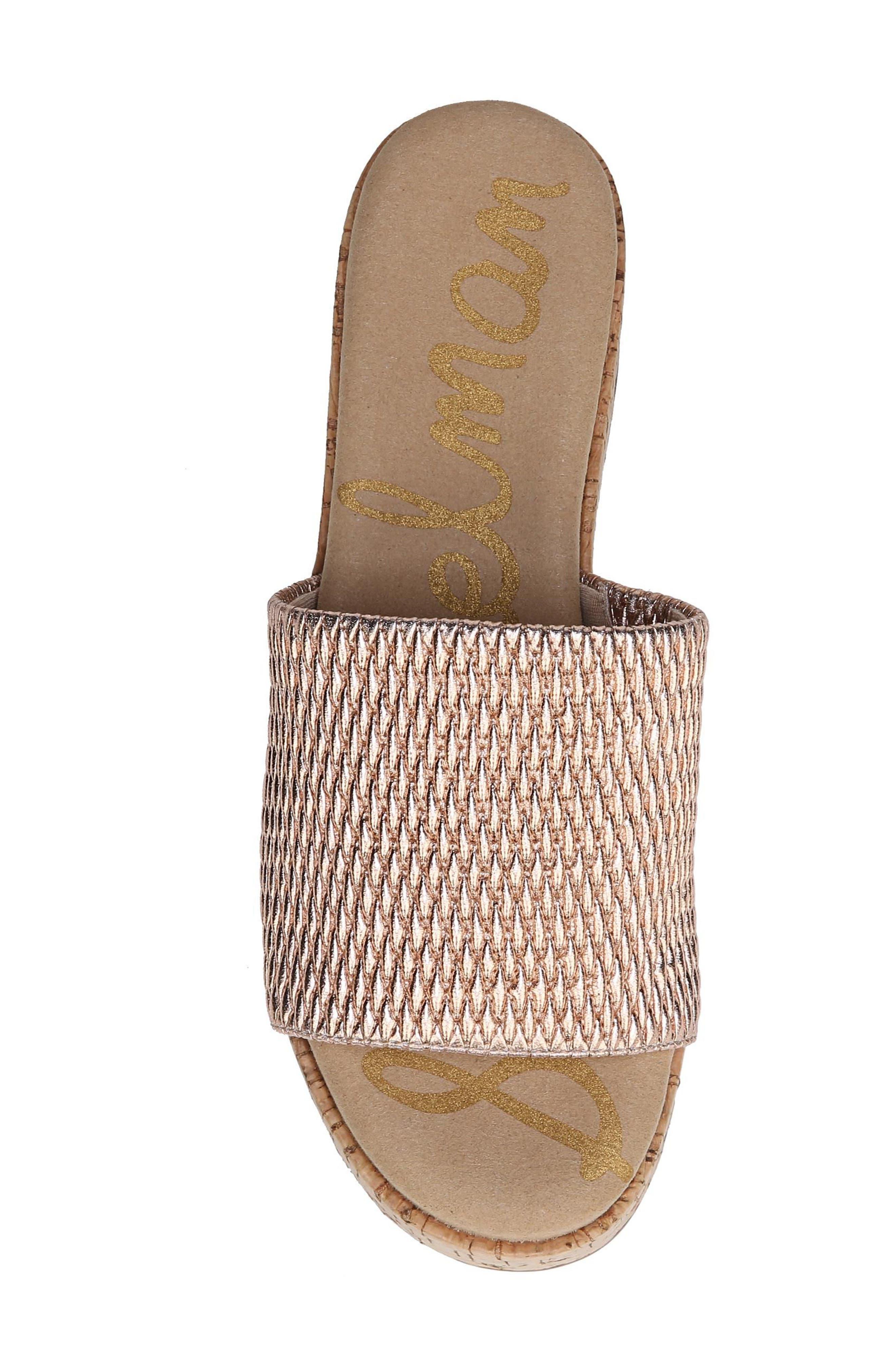 Wendi Platform Slide Sandal,                             Alternate thumbnail 6, color,                             Blush Gold Metallic Fabric