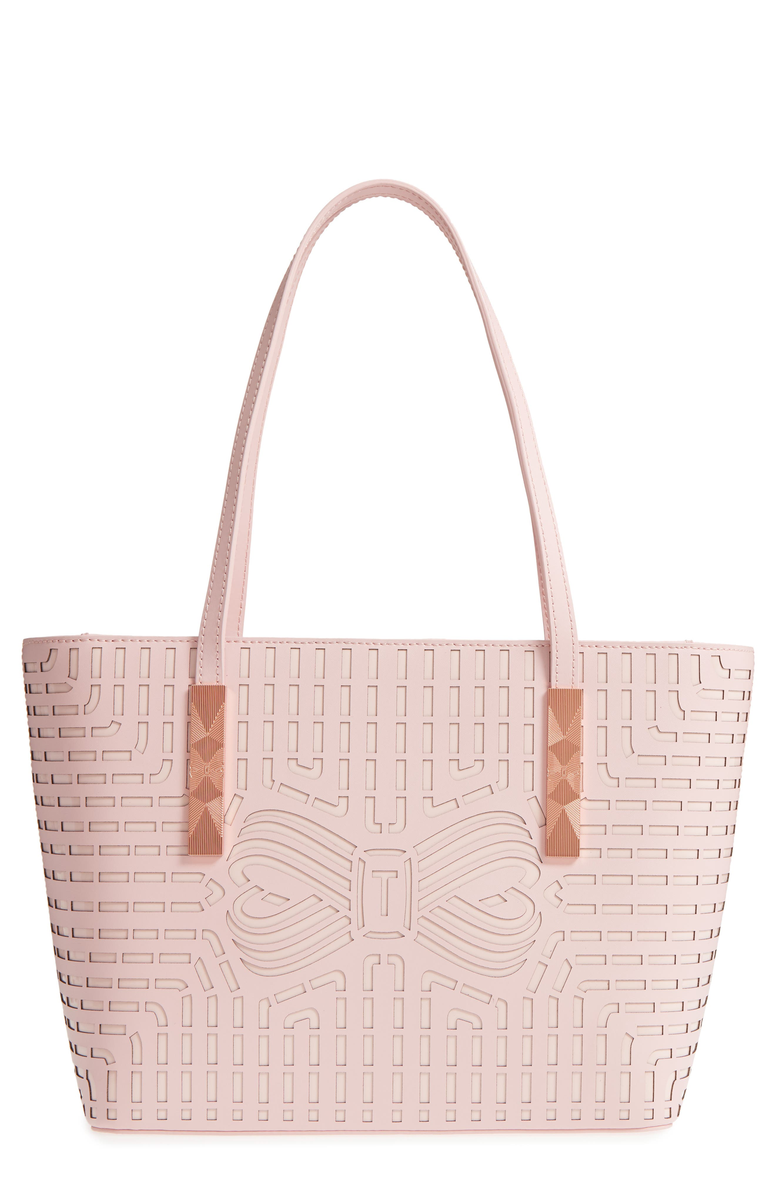 Breanna Perforated Bow Leather Shopper,                         Main,                         color, Light Pink