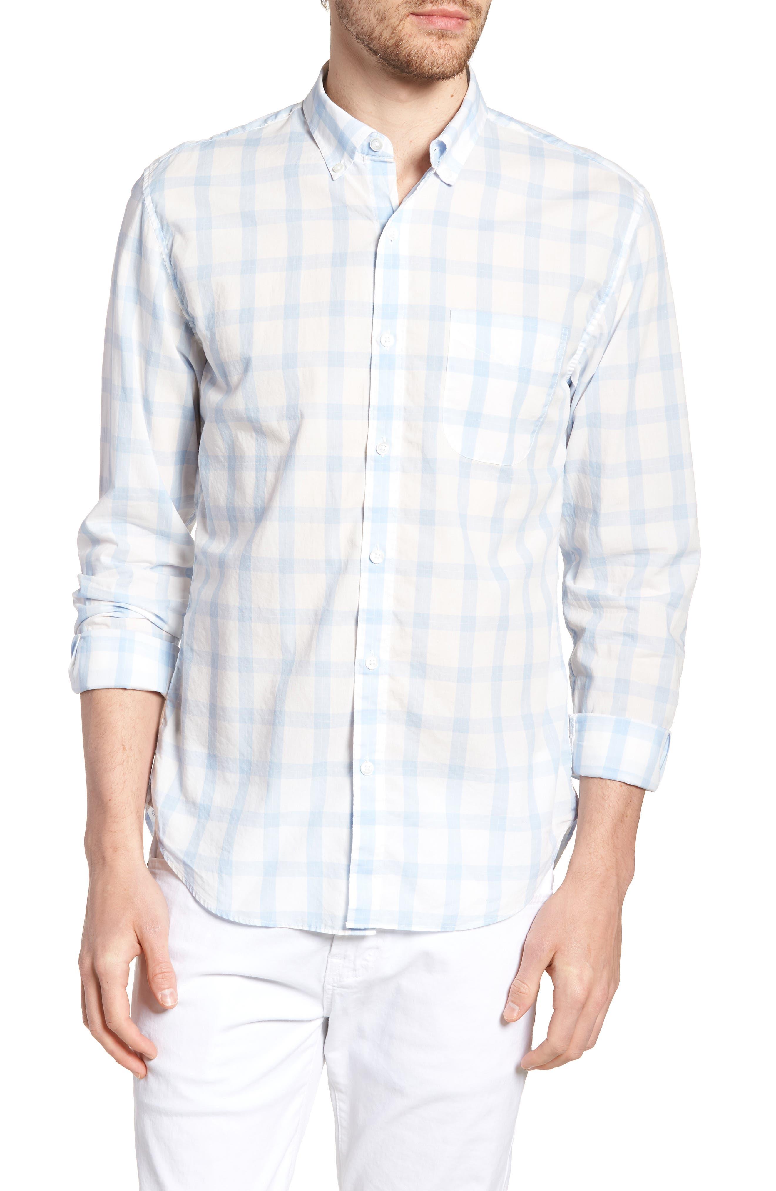 Slim Fit Summerweight Sport Shirt,                         Main,                         color, Sea Mist Check - Della Blue