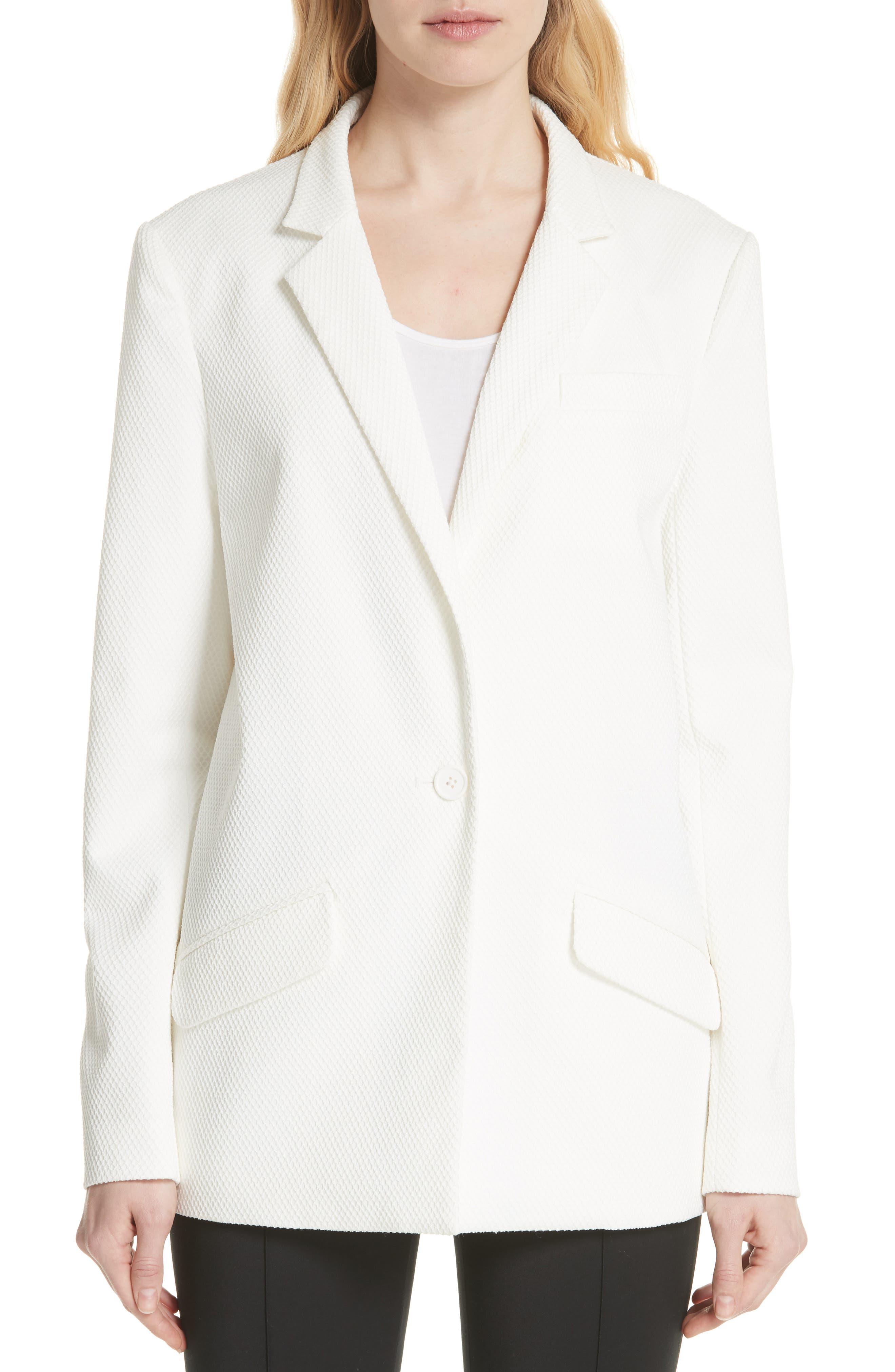 Textured Stretch Cotton Blend Blazer,                             Main thumbnail 1, color,                             Soft White