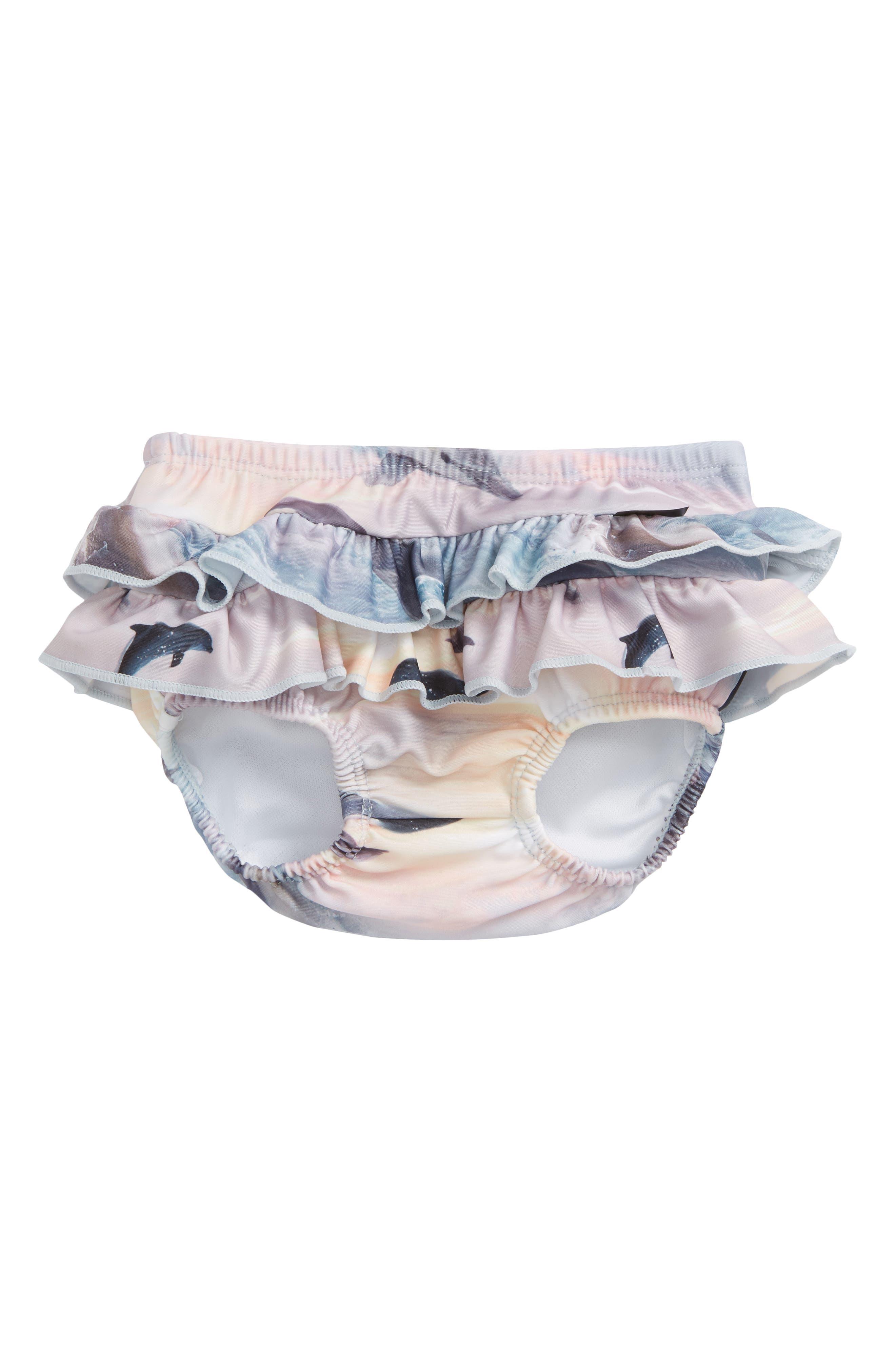Neena Ruffled Swim Bottoms,                         Main,                         color, Dolphins Sunset