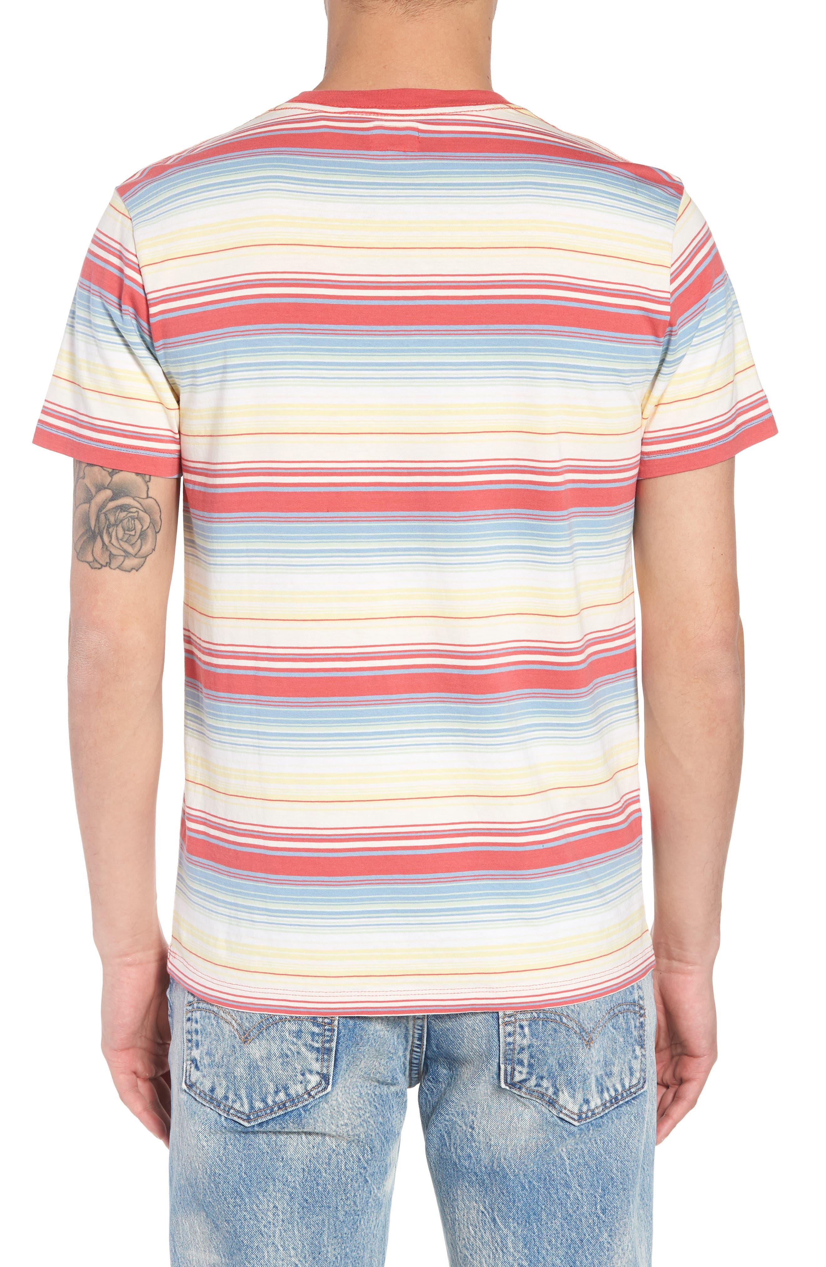Set-In Sunset Pocket T-Shirt,                             Alternate thumbnail 2, color,                             Fiesta Stripe