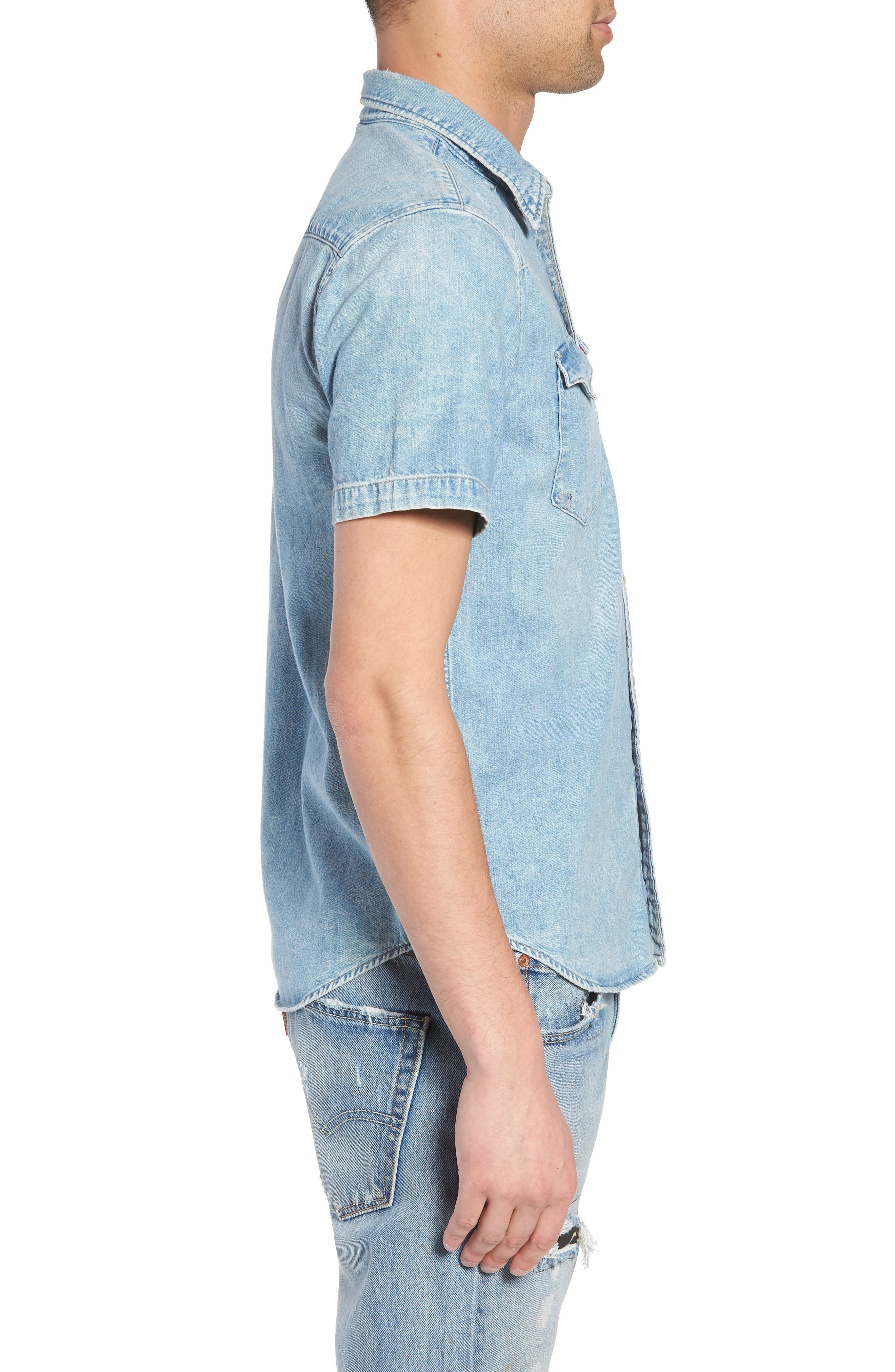 Barstow Western Shirt,                             Alternate thumbnail 4, color,                             Light Weight Marbled Denim