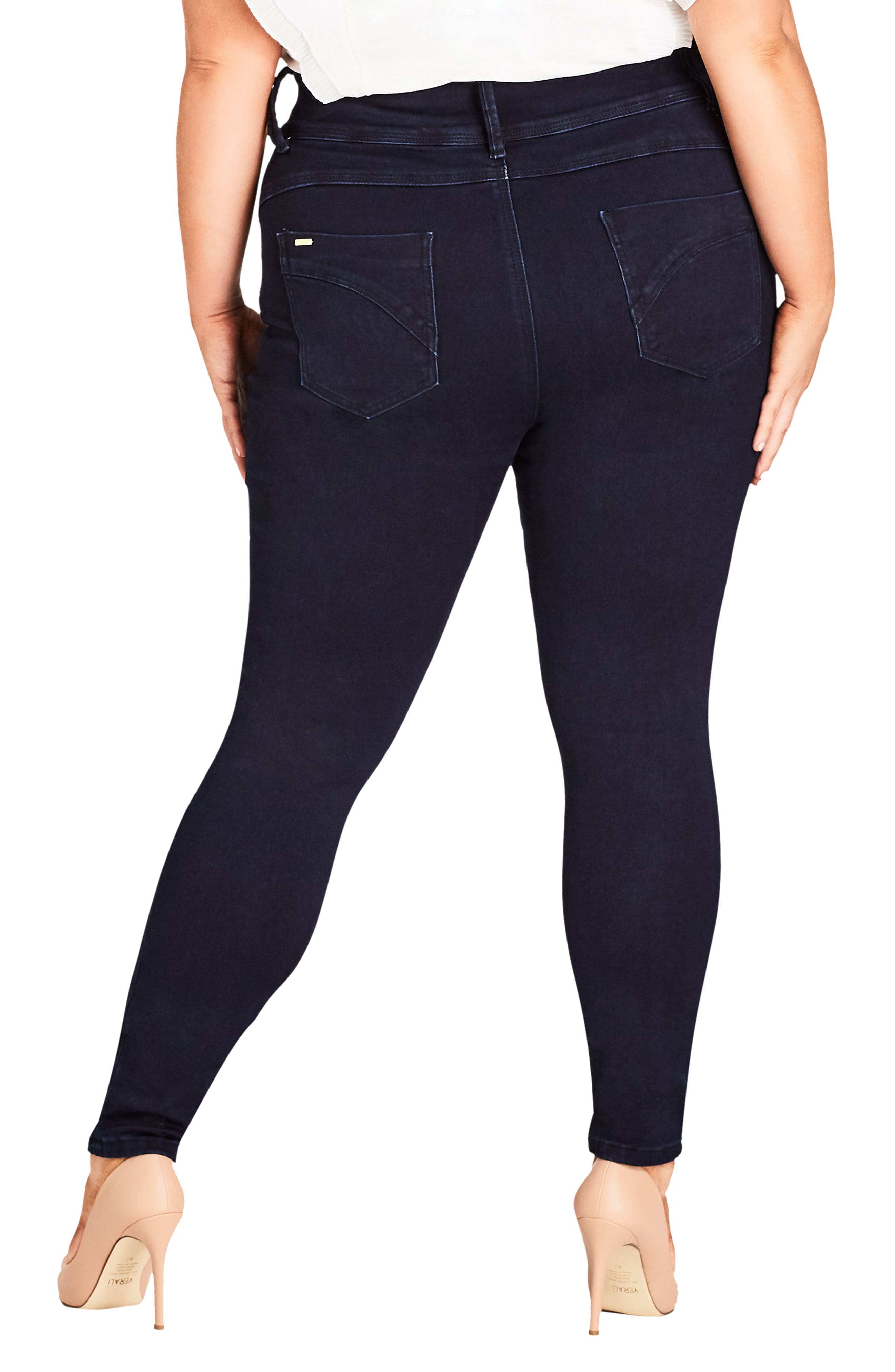 Asha Ankle Skinny Jeans,                             Alternate thumbnail 2, color,                             Dark Denim
