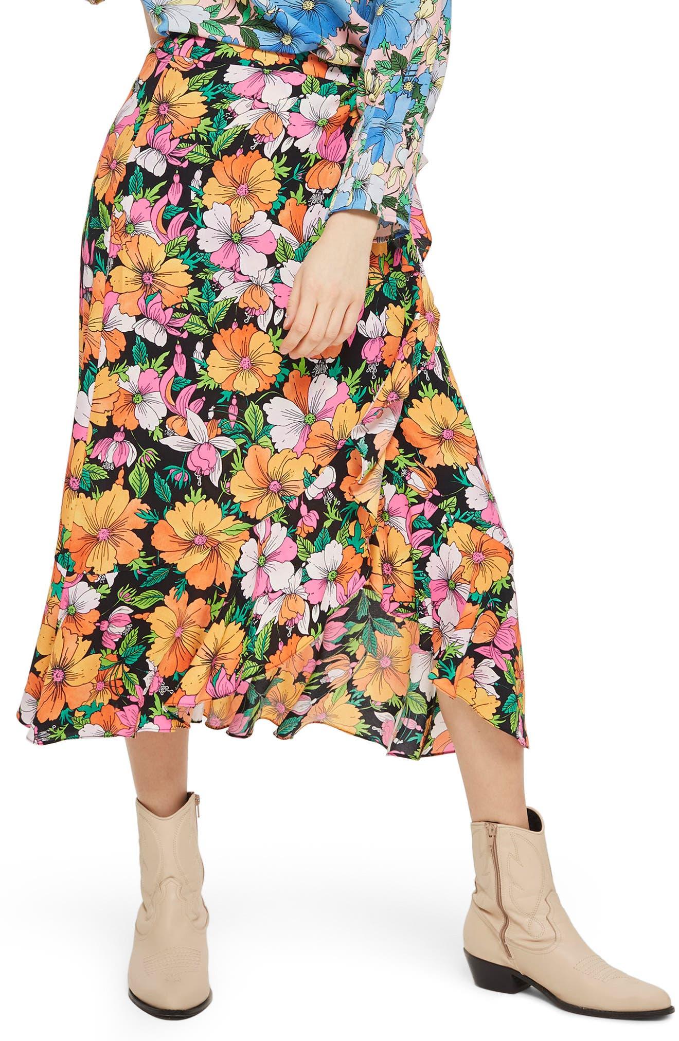Heavy Petal Print Midi Skirt,                             Main thumbnail 1, color,                             Black Multi