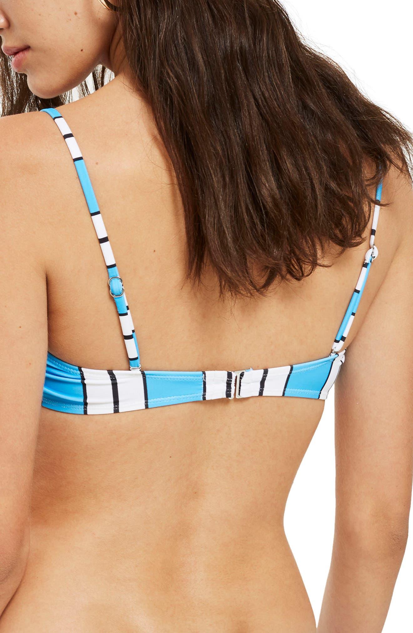 Stripe Floral Embroidered Bandeau Bikini Top,                             Alternate thumbnail 3, color,                             Blue Multi