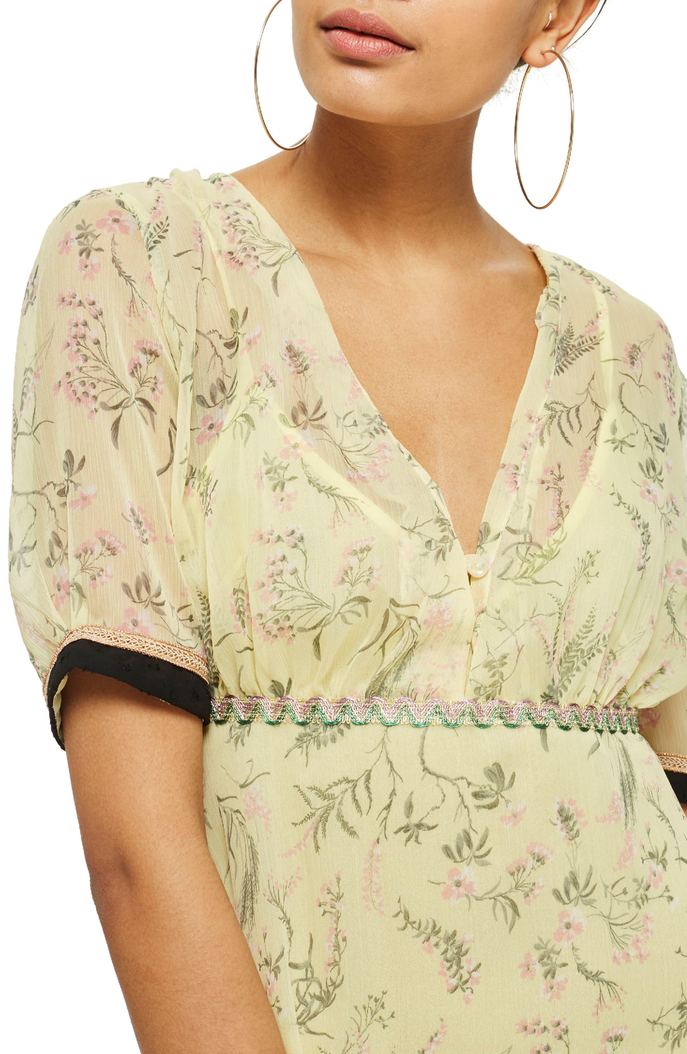 Rodeo Print Frill Midi Dress,                             Alternate thumbnail 3, color,                             Yellow Multi