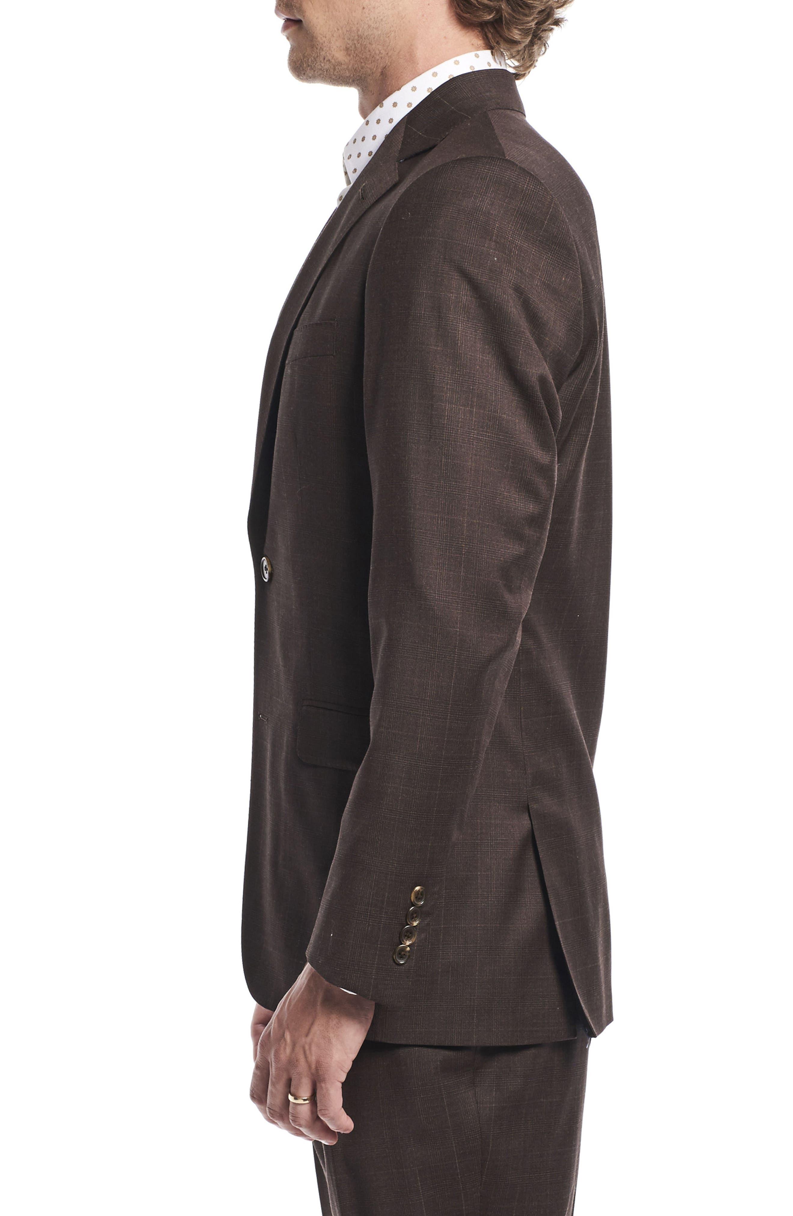 by Ilaria Urbinati Hank Slim Fit Three-Piece Plaid Wool Suit,                             Alternate thumbnail 4, color,                             Brown Plaid