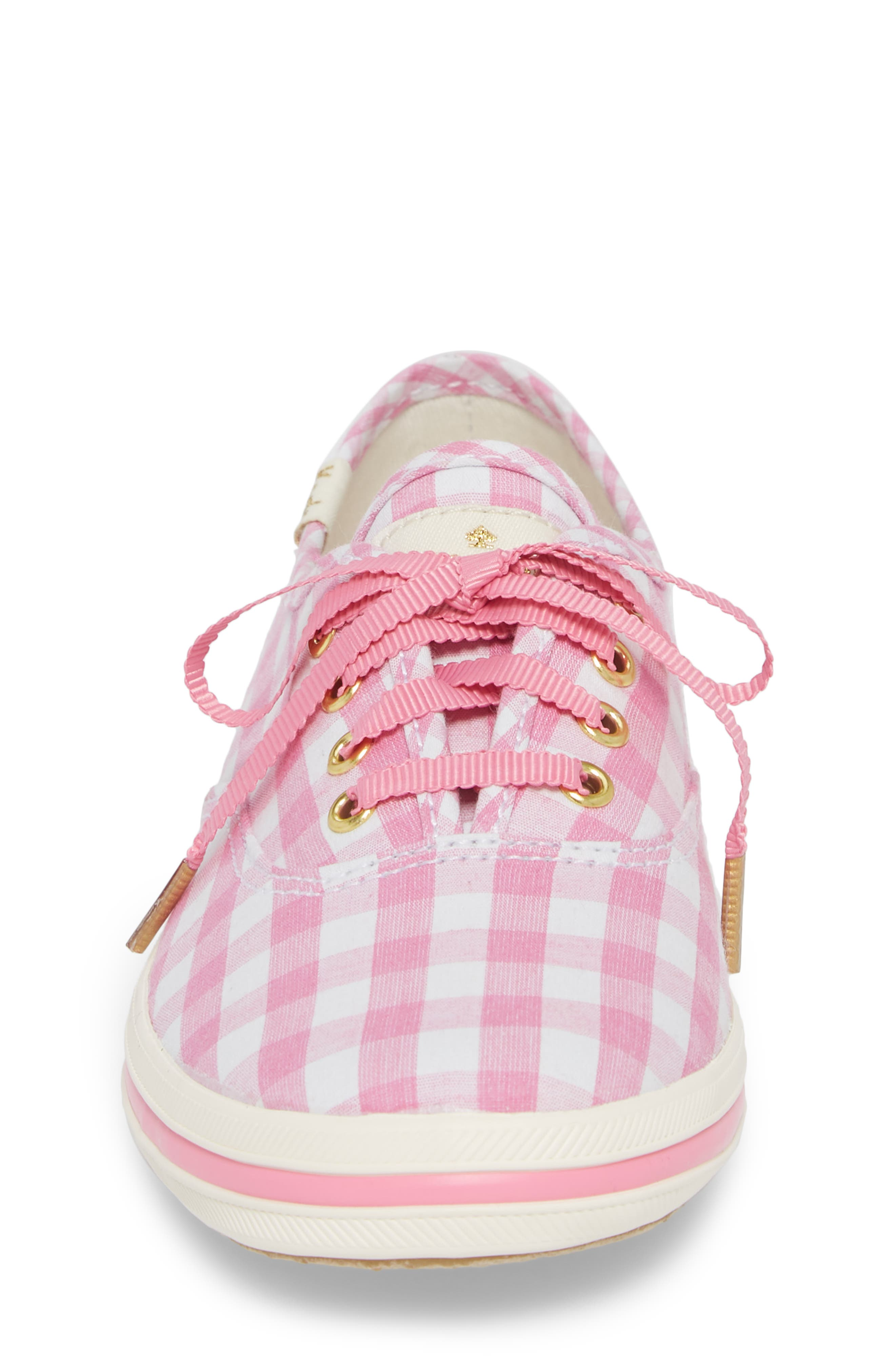 x kate spade new york champion gingham lace-up shoe,                             Alternate thumbnail 4, color,                             Pink Gingham