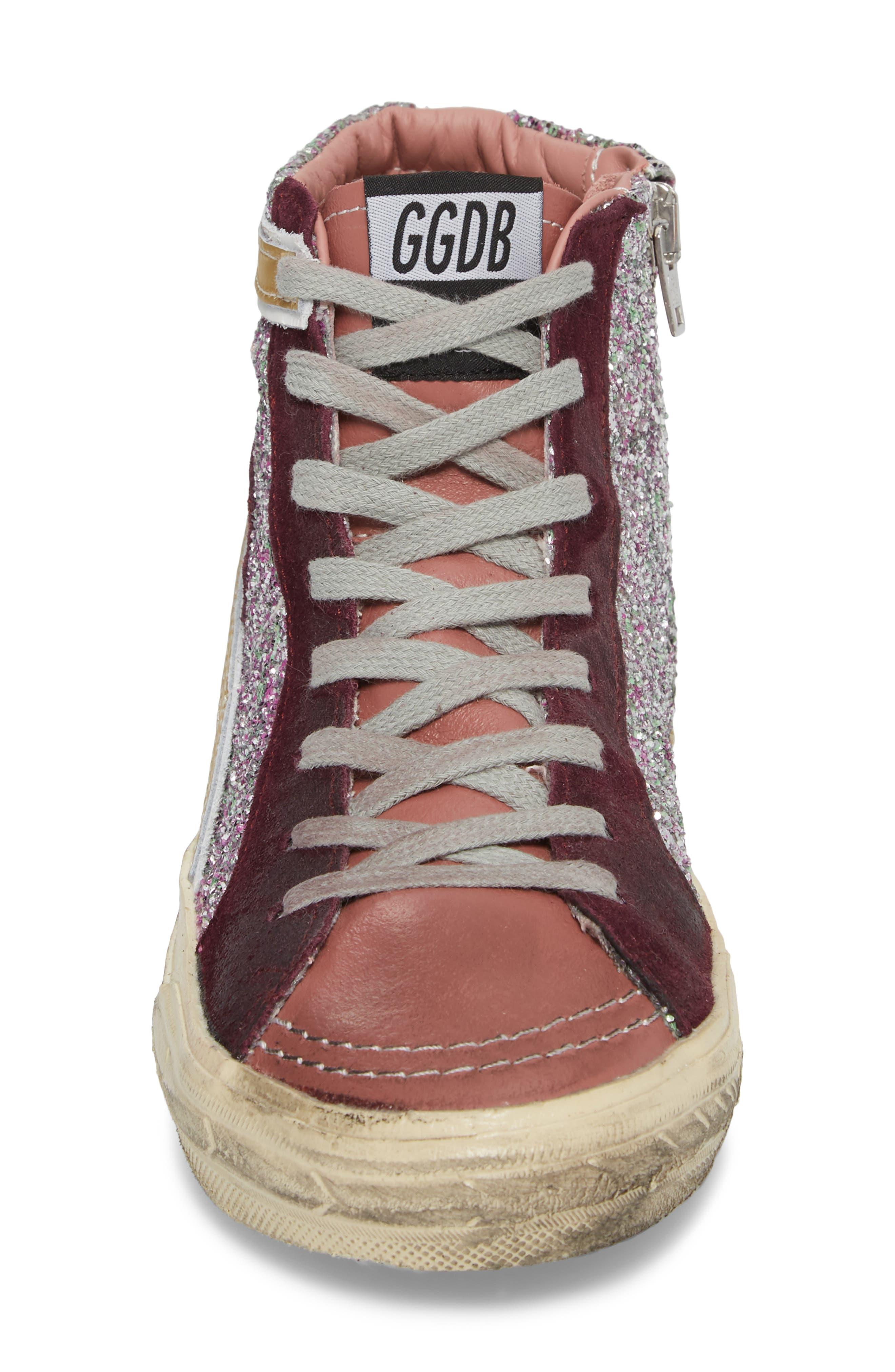 Slide High Top Sneaker,                             Alternate thumbnail 4, color,                             Bordeaux / Pink/ Gold