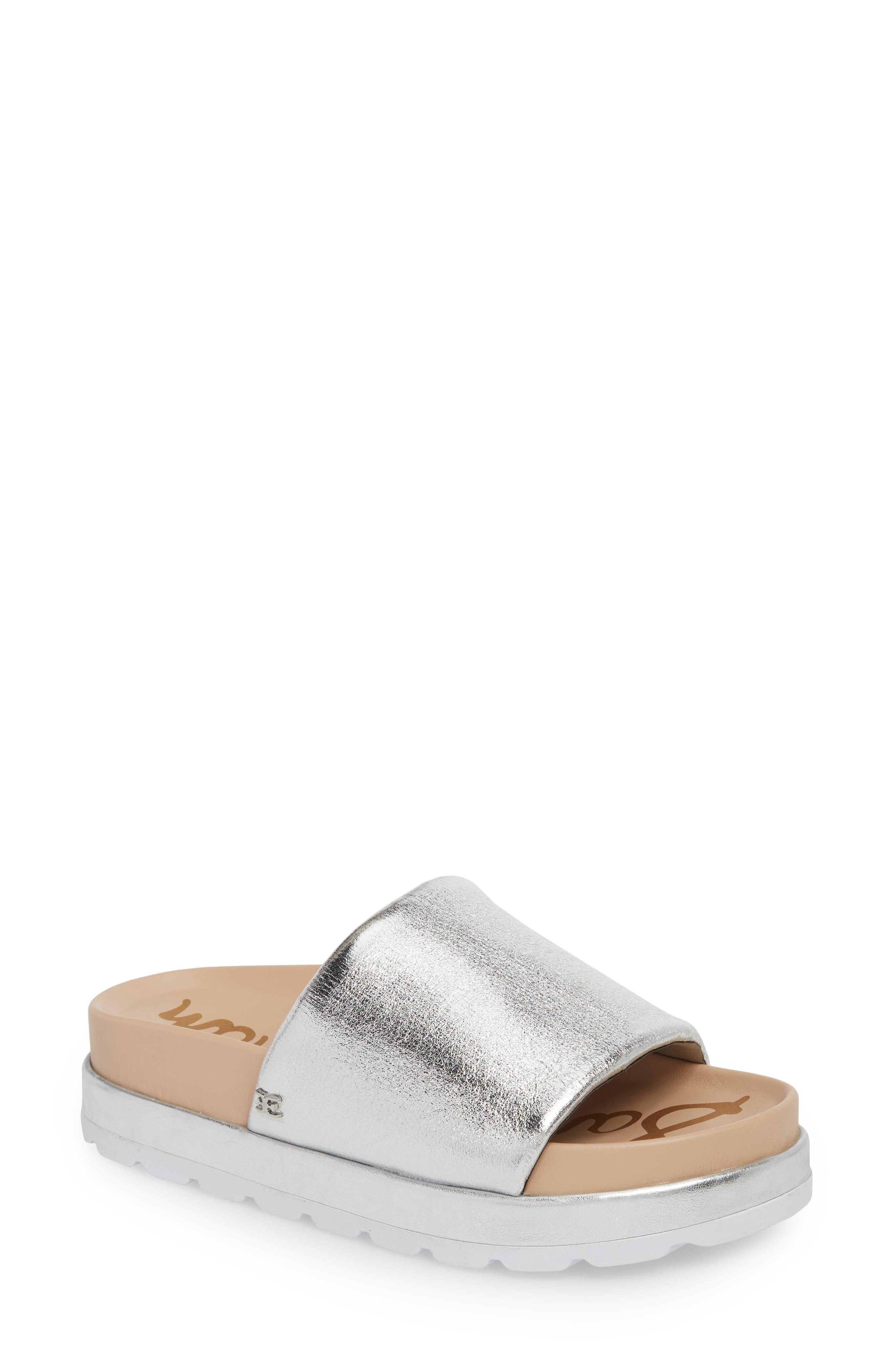 Shaye Slide Sandal,                             Main thumbnail 1, color,                             Soft Silver Metallic Fabric