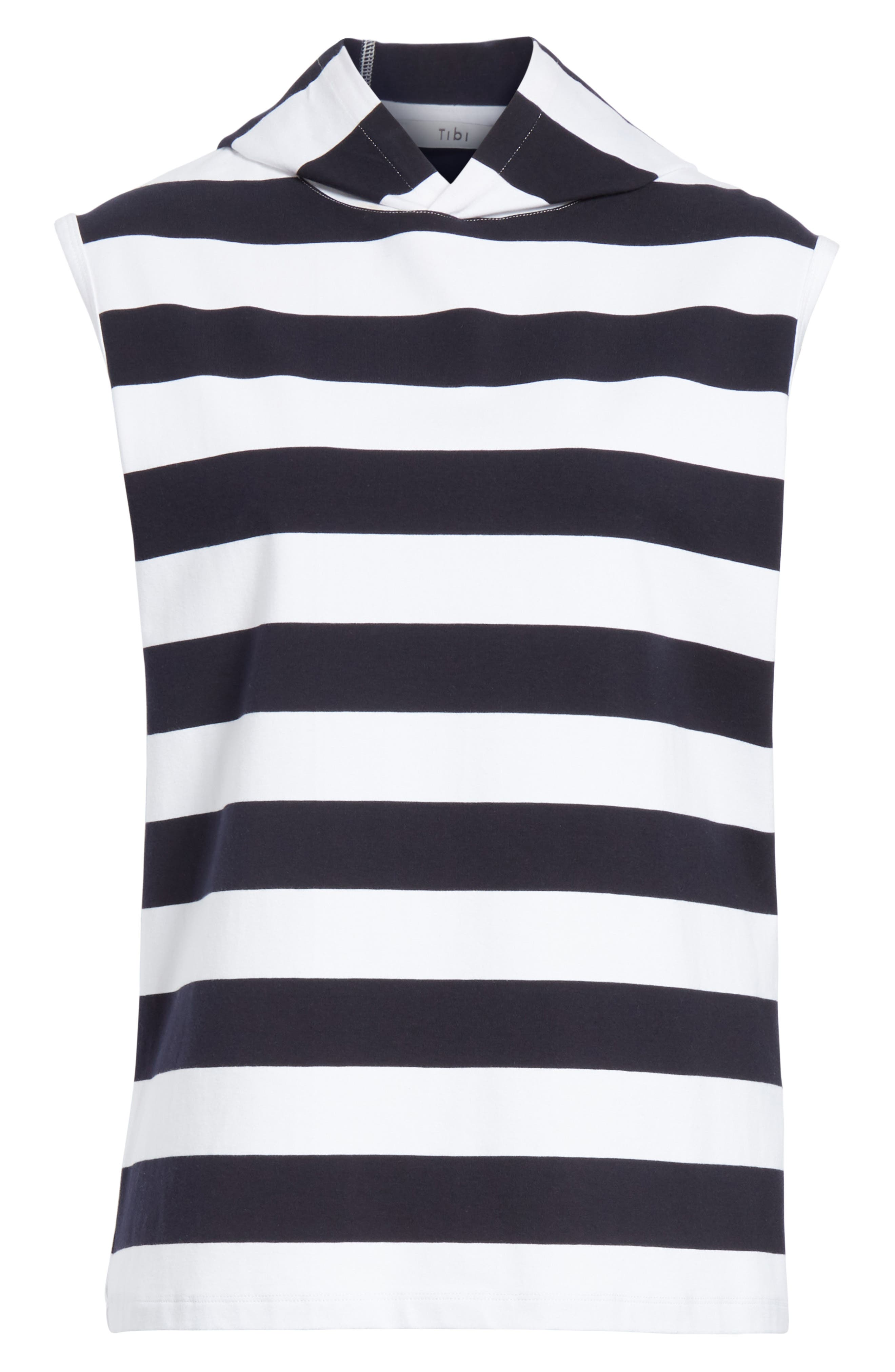 Muscle Stripe Stretch Cotton Tee,                             Alternate thumbnail 7, color,                             Navy/ White Multi