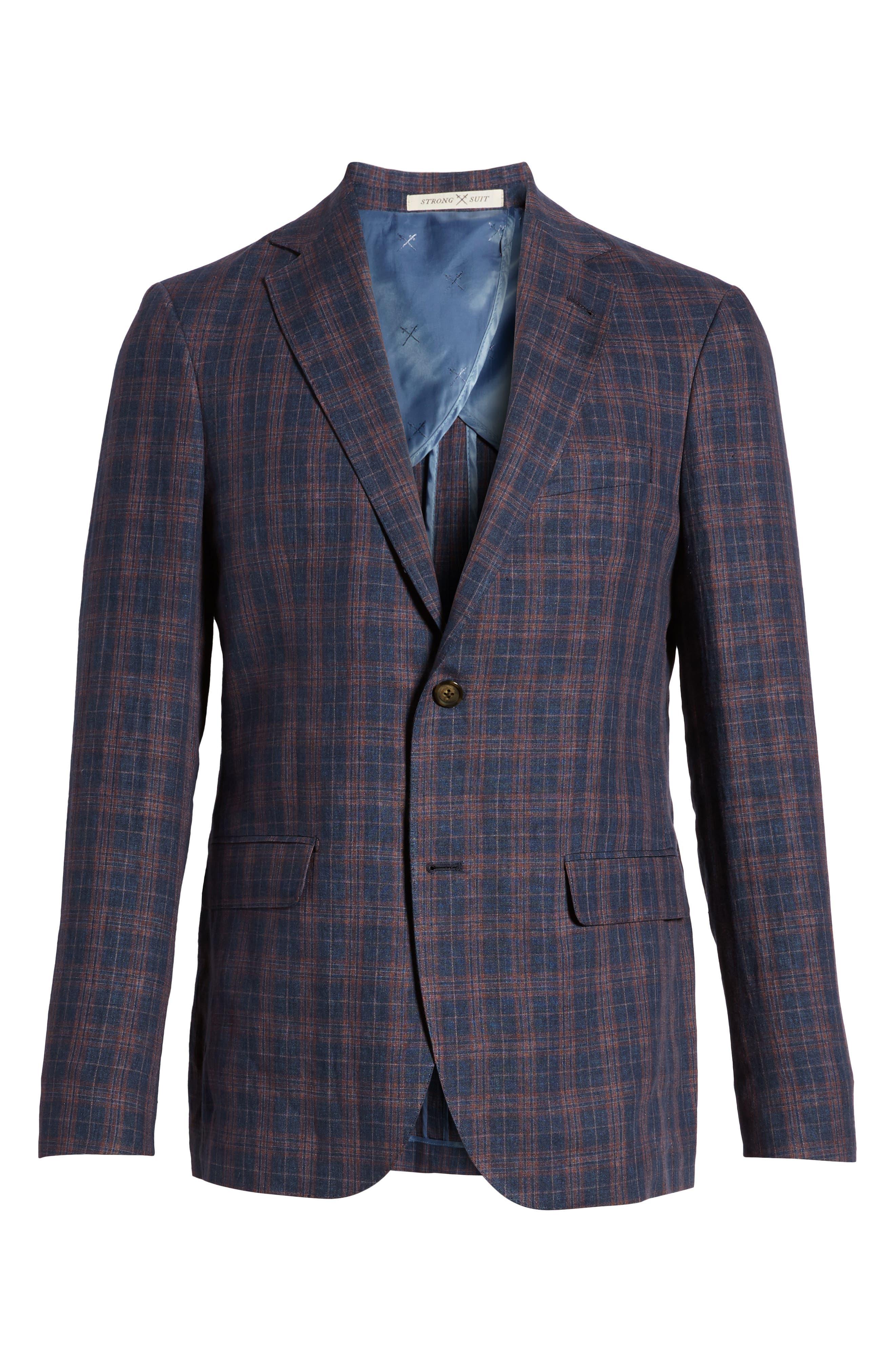 Vanquish Trim Fit Plaid Linen Sport Coat,                             Alternate thumbnail 6, color,                             Navy/ Red