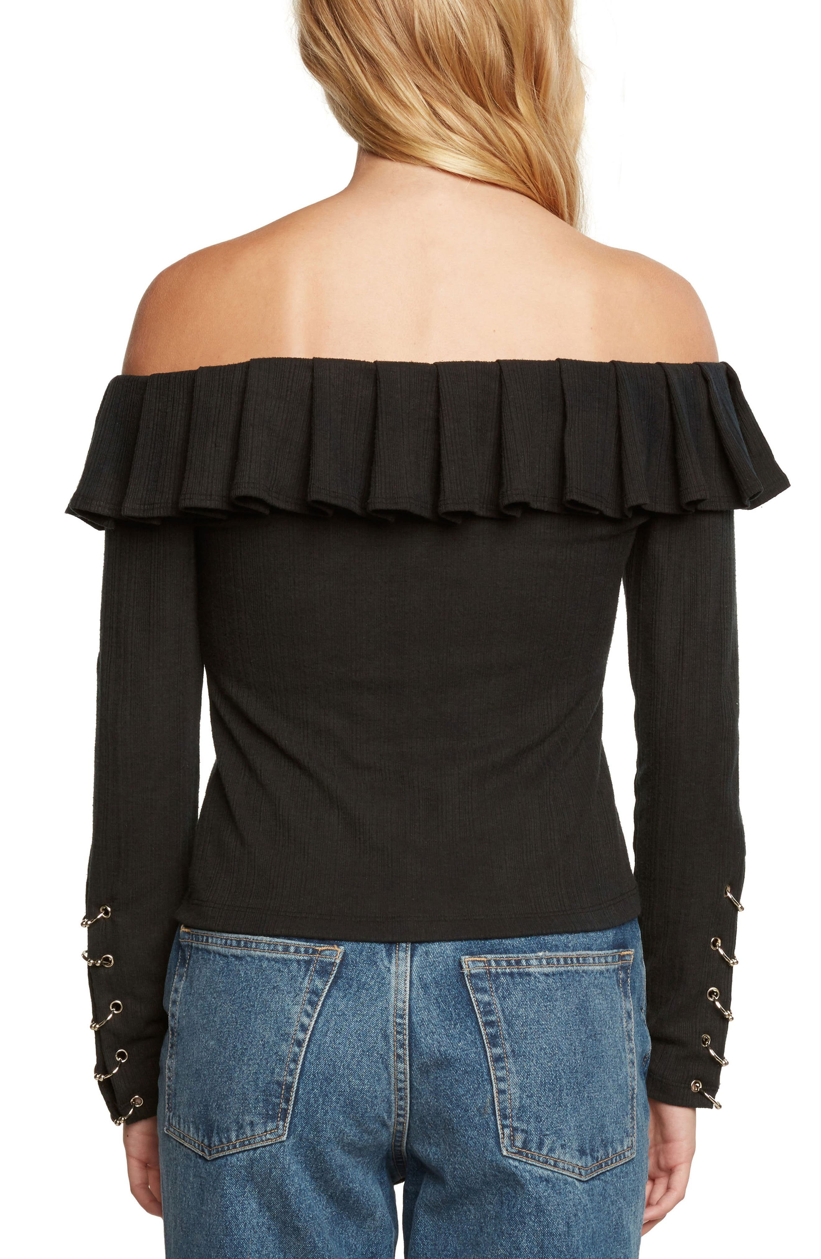 Ribbed Off the Shoulder Top,                             Alternate thumbnail 2, color,                             Black