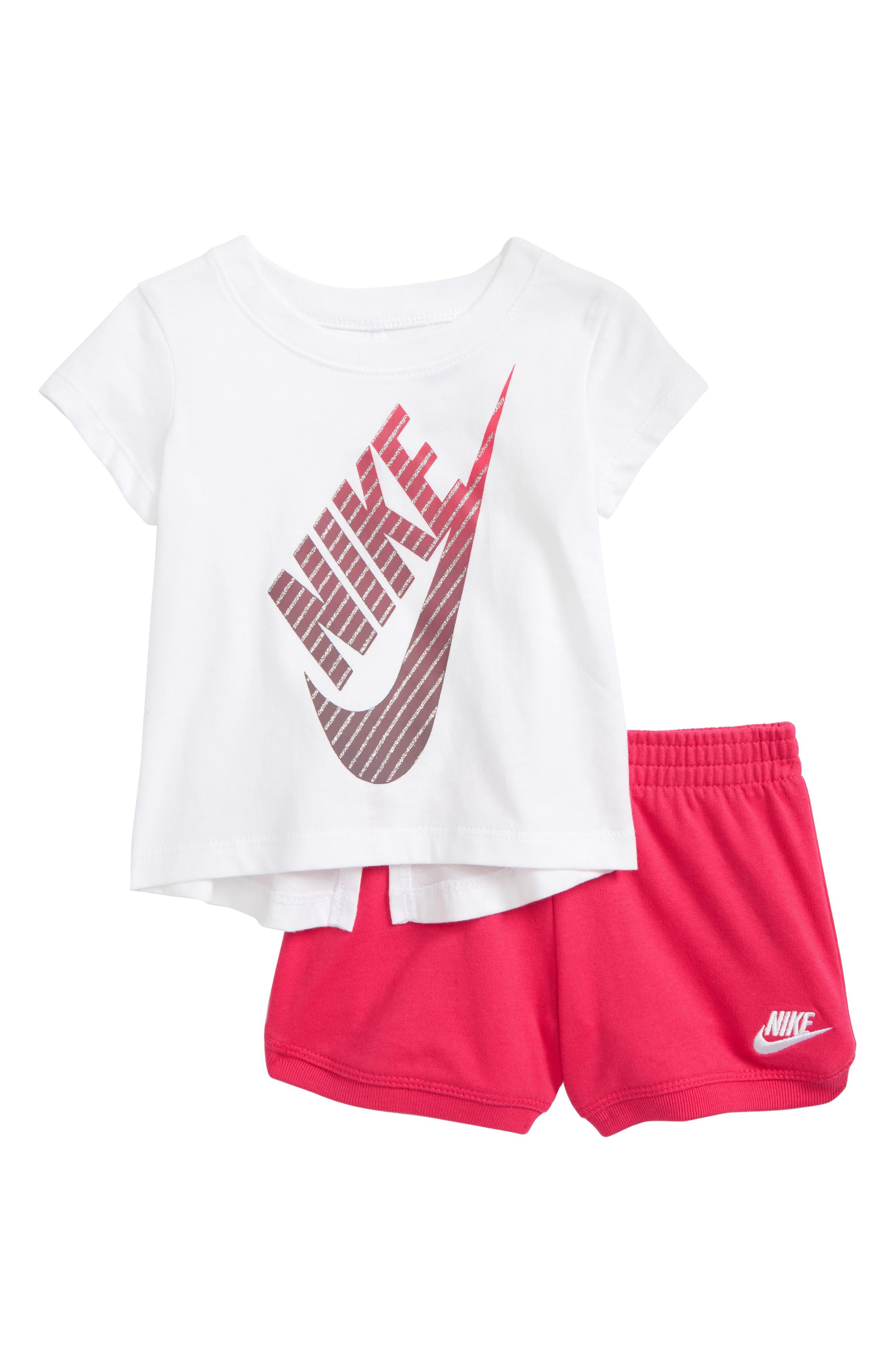 Gradient Futura Tee & Shorts Set,                         Main,                         color, Rush Pink