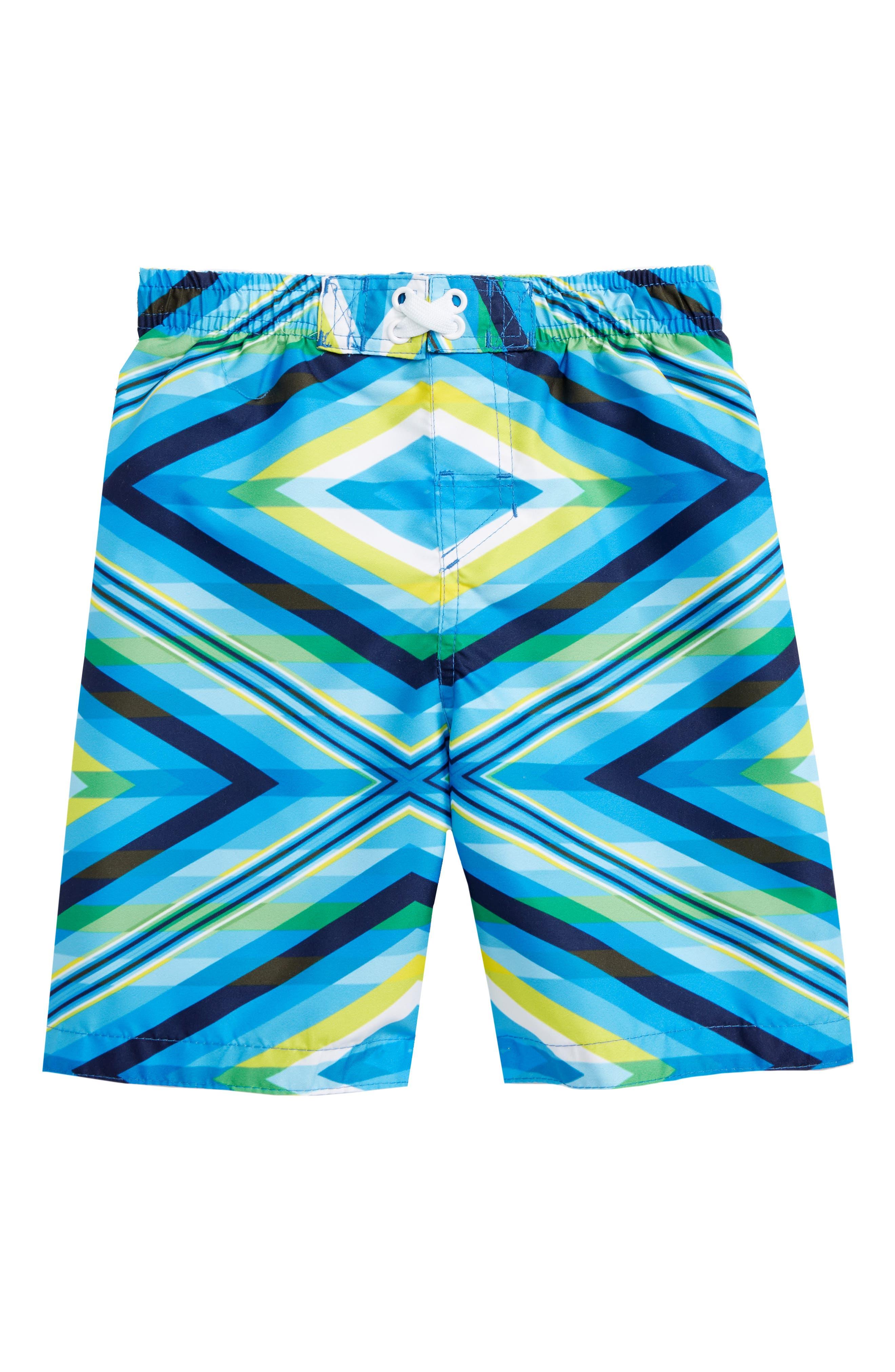 Geo Mirage Swim Trunks,                             Main thumbnail 1, color,                             Blue/ Yellow