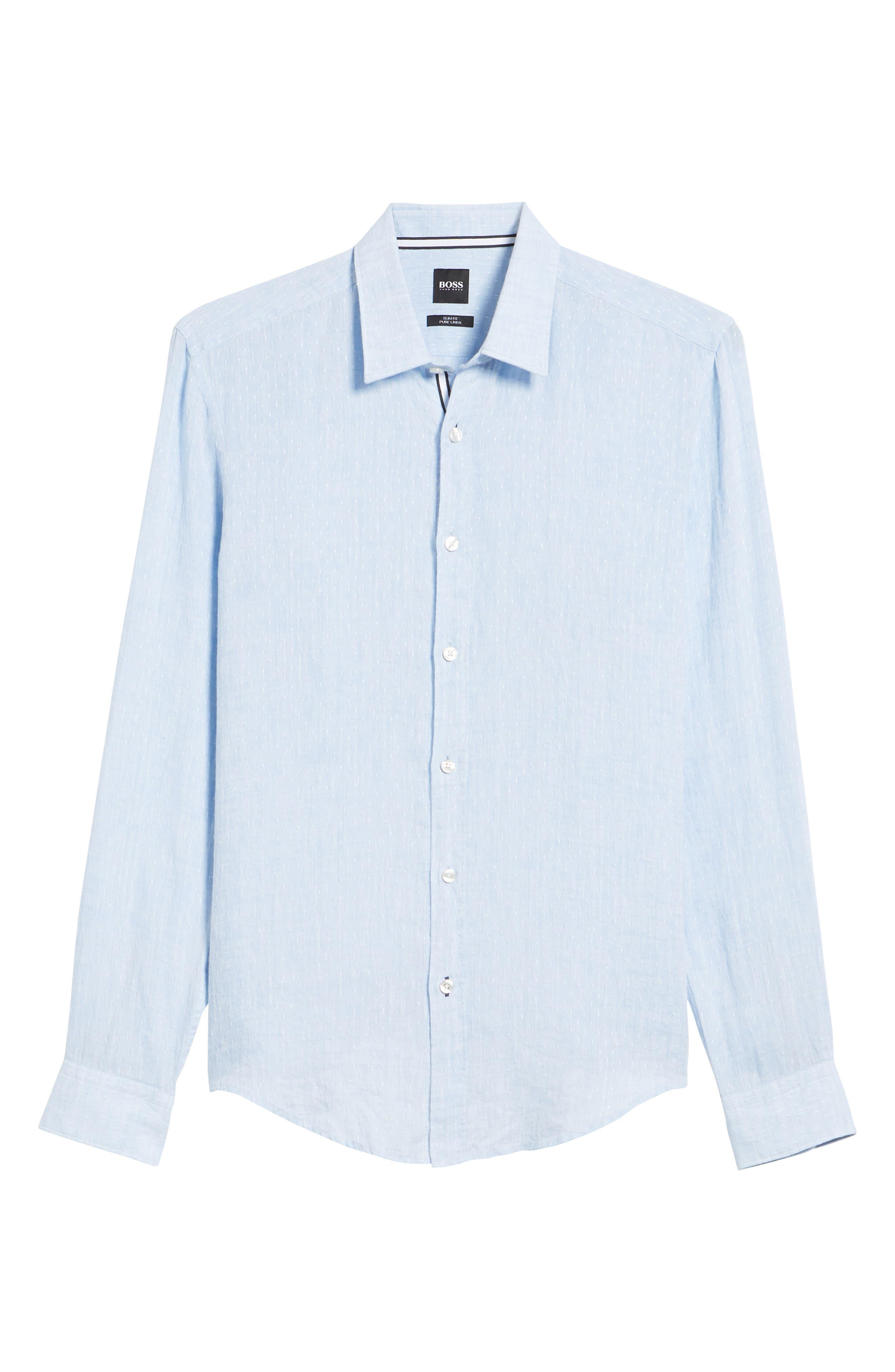 Ronni Slim Fit Dobby Linen Sport Shirt,                             Alternate thumbnail 6, color,                             Blue