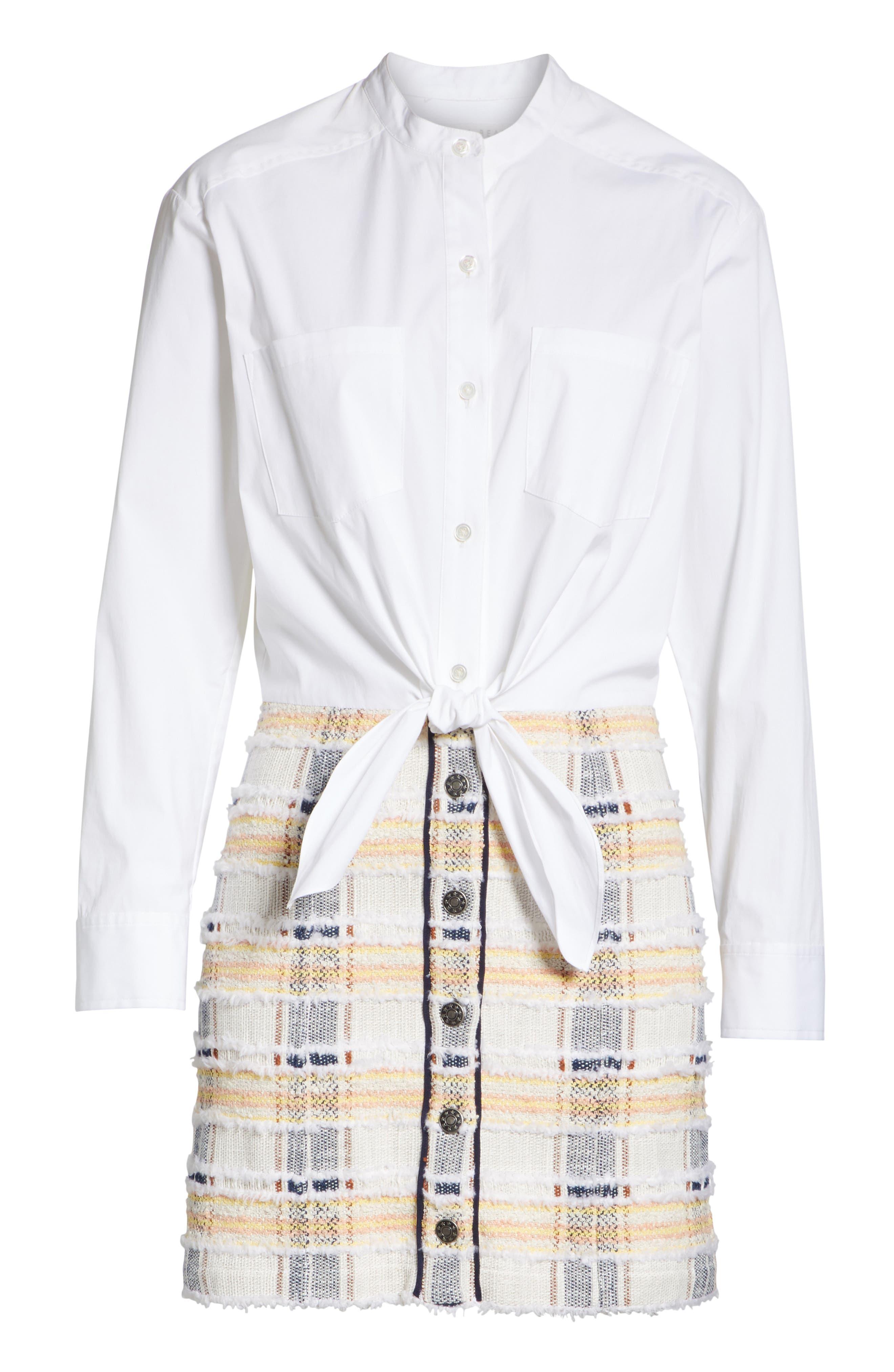 Aurelia Mixed Media Shirtdress,                             Alternate thumbnail 6, color,                             Off-White/ Navy/ Rust/ Yellow