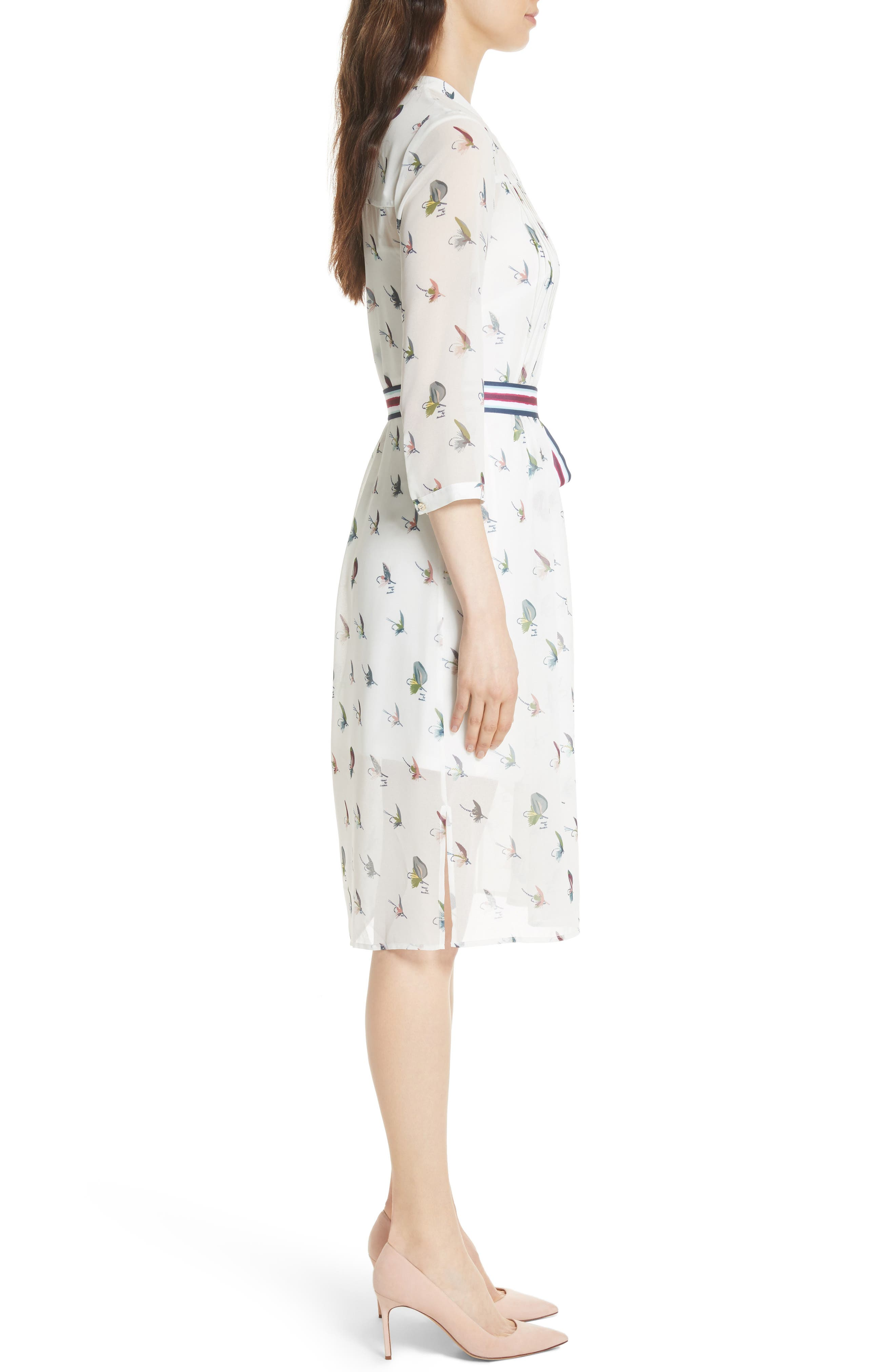 Colour by Numbers Zenaa Print Shirtdress,                             Alternate thumbnail 3, color,                             Ivory