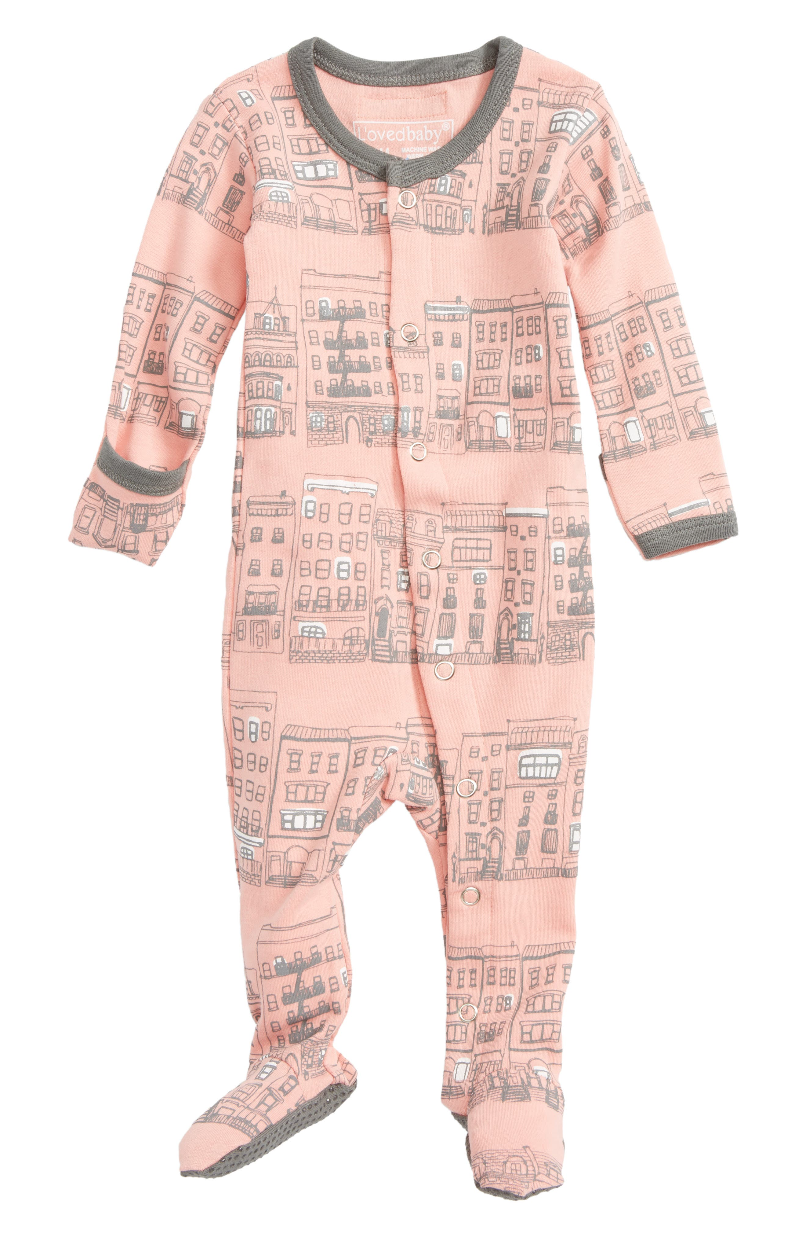 L'ovedbaby City Block Organic Cotton Footie (Baby Girls)
