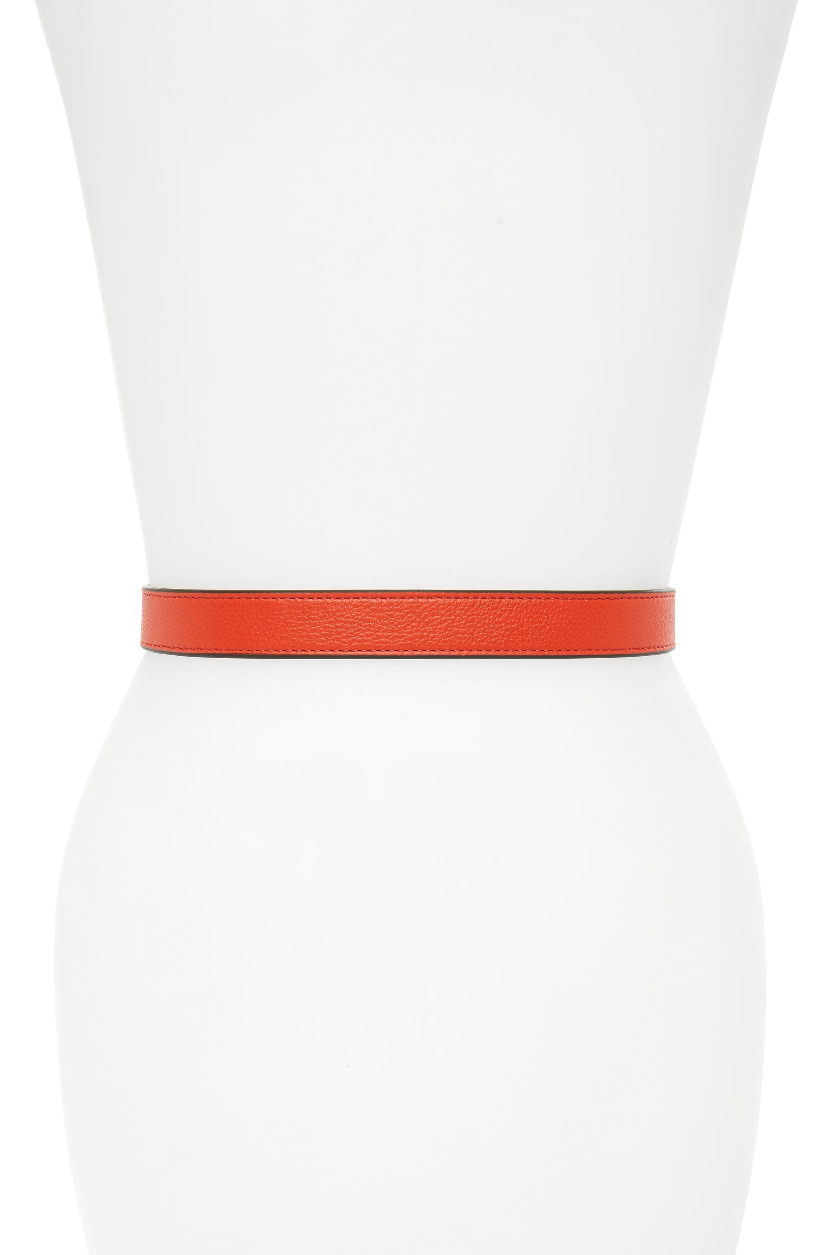 Reversible Logo Leather Belt,                             Alternate thumbnail 2, color,                             Poppy Red/ Devon Sand