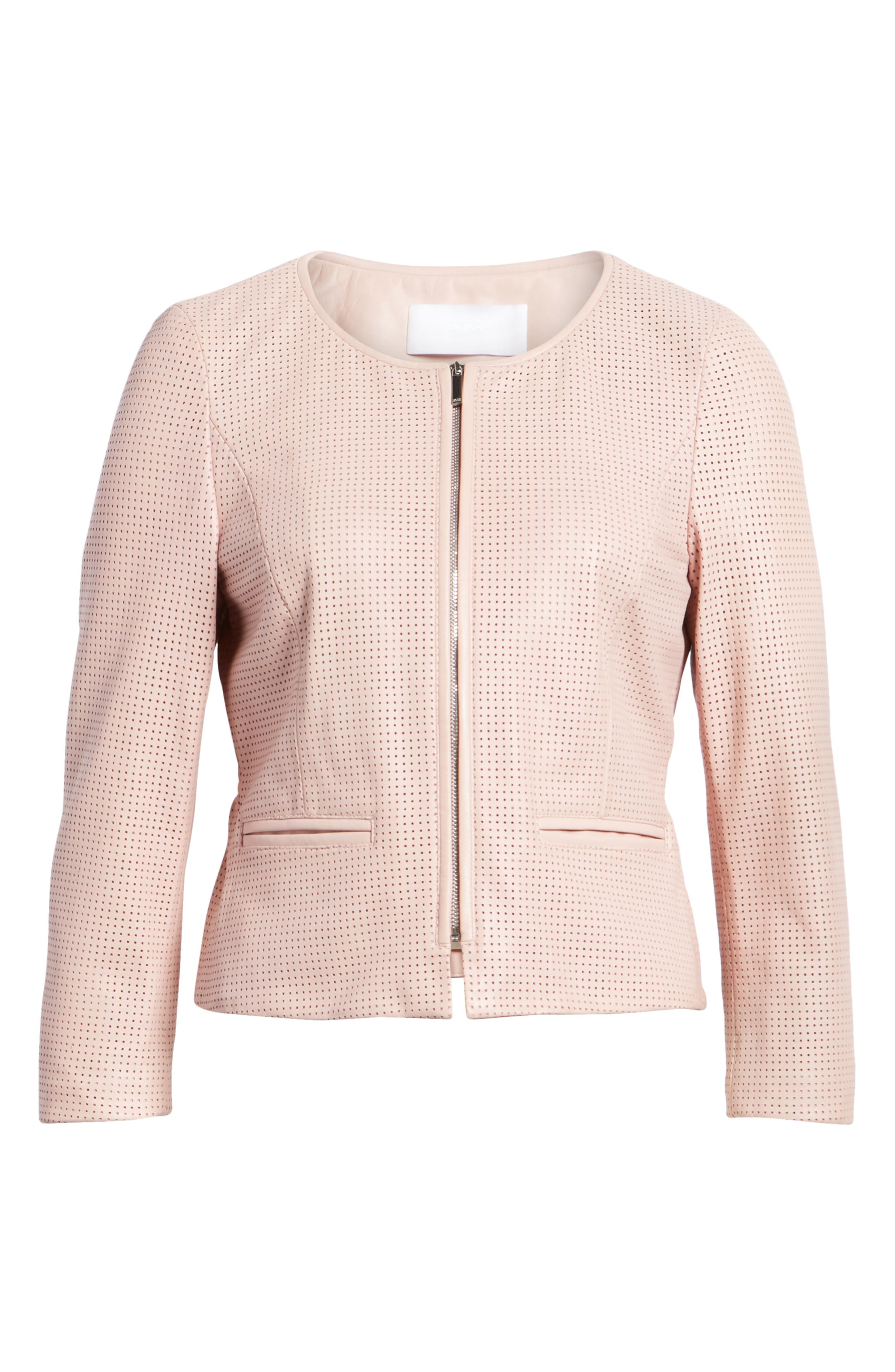 Sallotina Perforated Leather Jacket,                             Alternate thumbnail 7, color,                             Blush