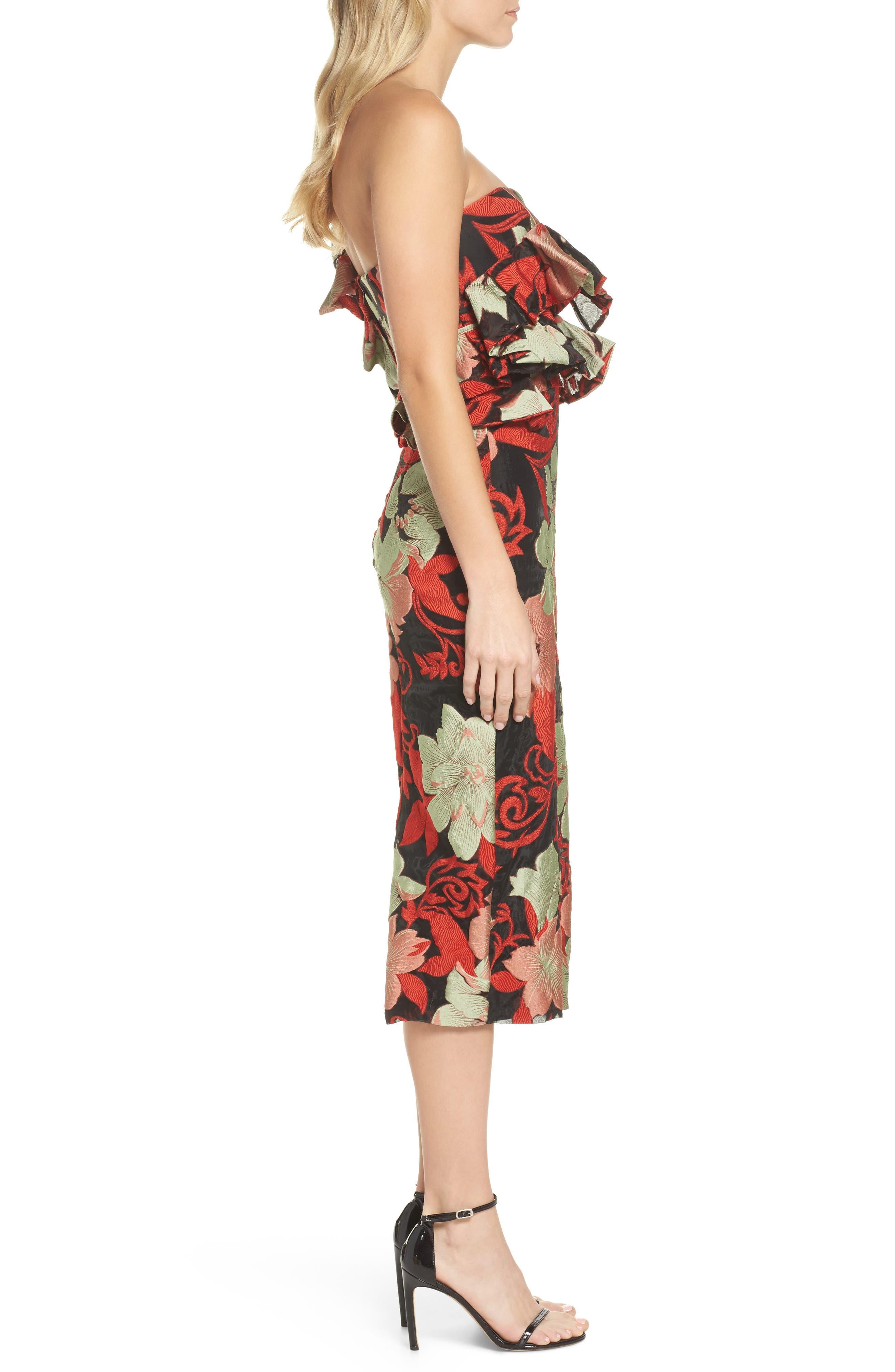 Katalina One-Shoulder Midi Dress,                             Alternate thumbnail 3, color,                             Magnolia Multi
