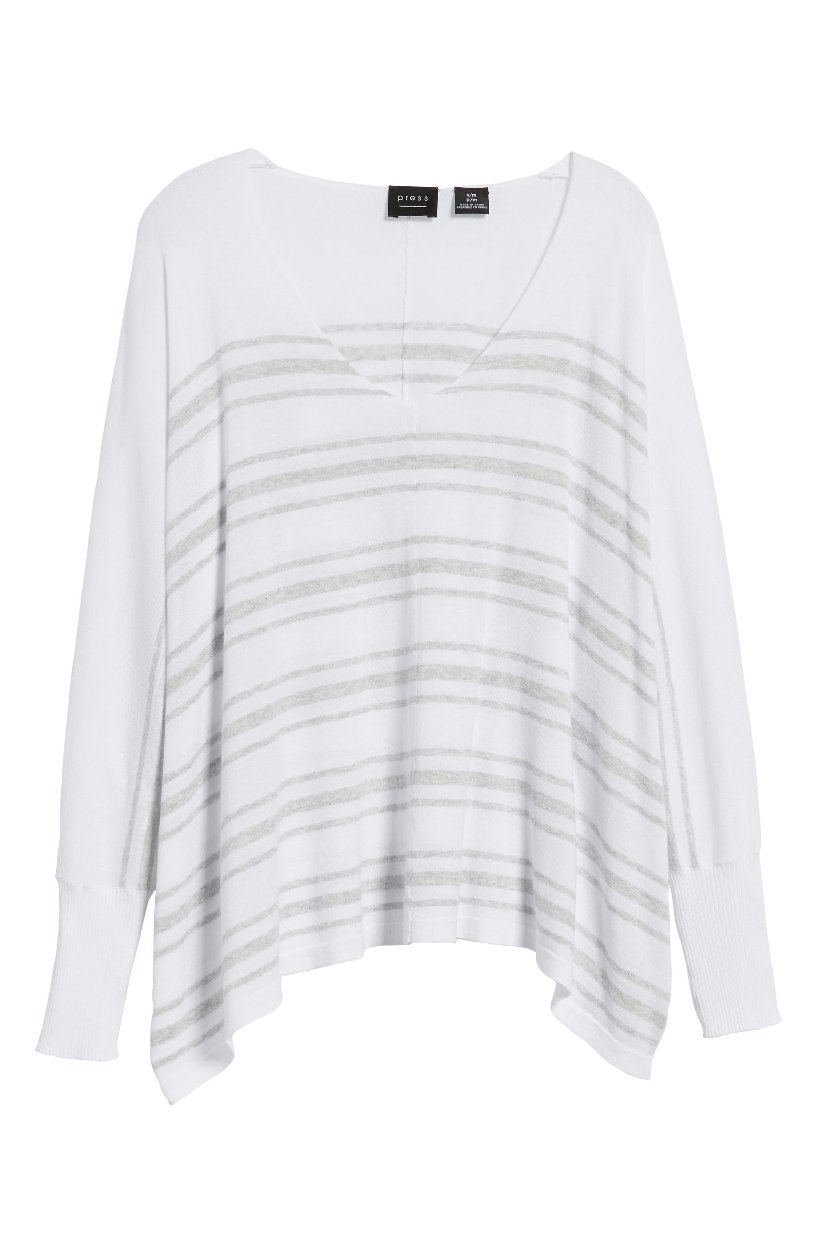 Oversize Sleeve Stripe V-Neck Sweater,                             Alternate thumbnail 7, color,                             Warm White Pebble Grey Mix