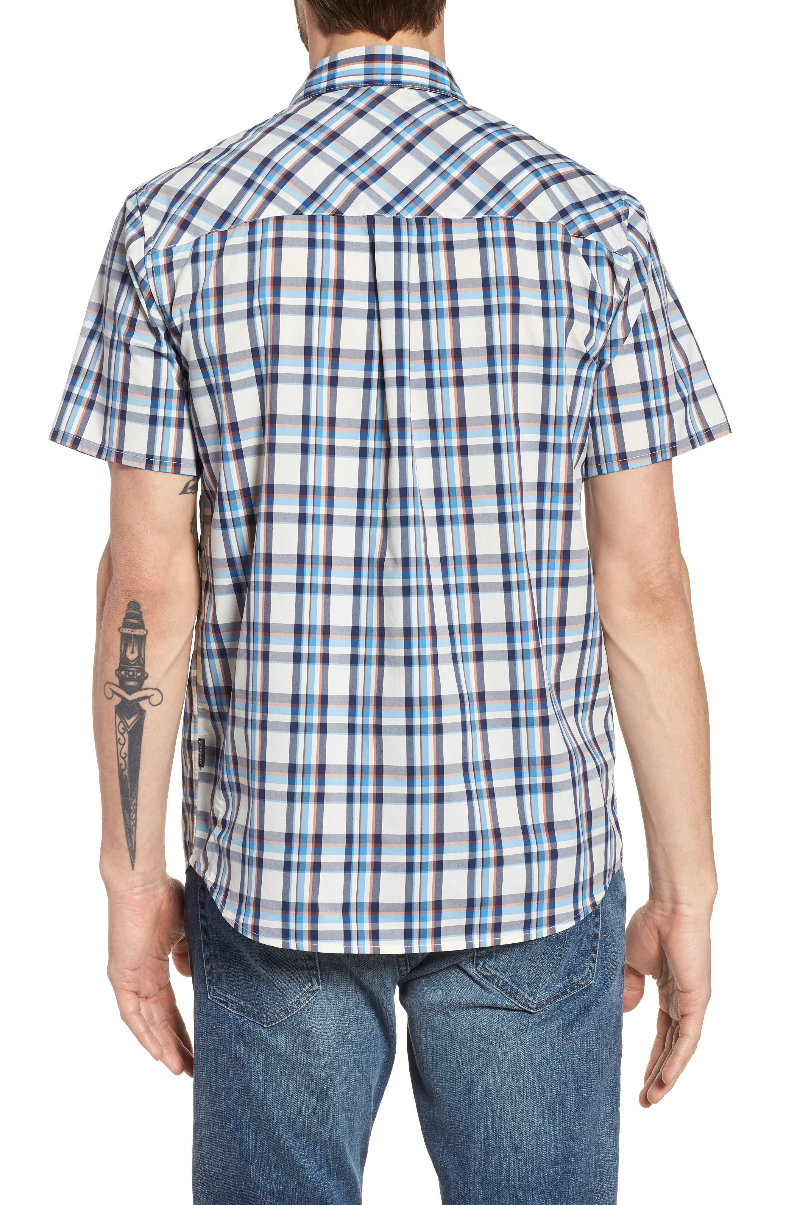High Moss Regular Fit Short Sleeve Sport Shirt,                             Alternate thumbnail 3, color,                             Anchor/ Birch White