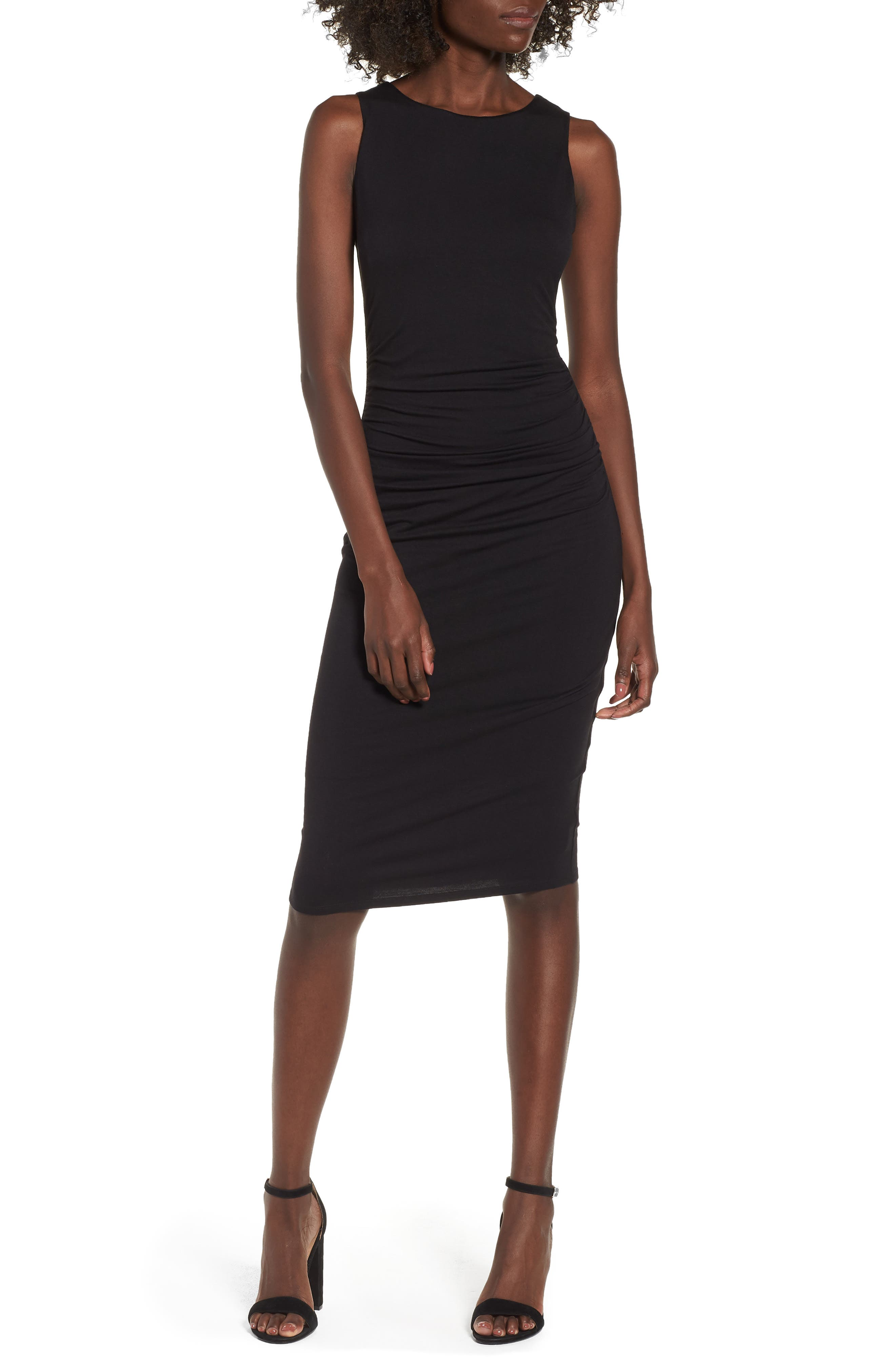 Ruched Sheath Dress,                         Main,                         color, Black