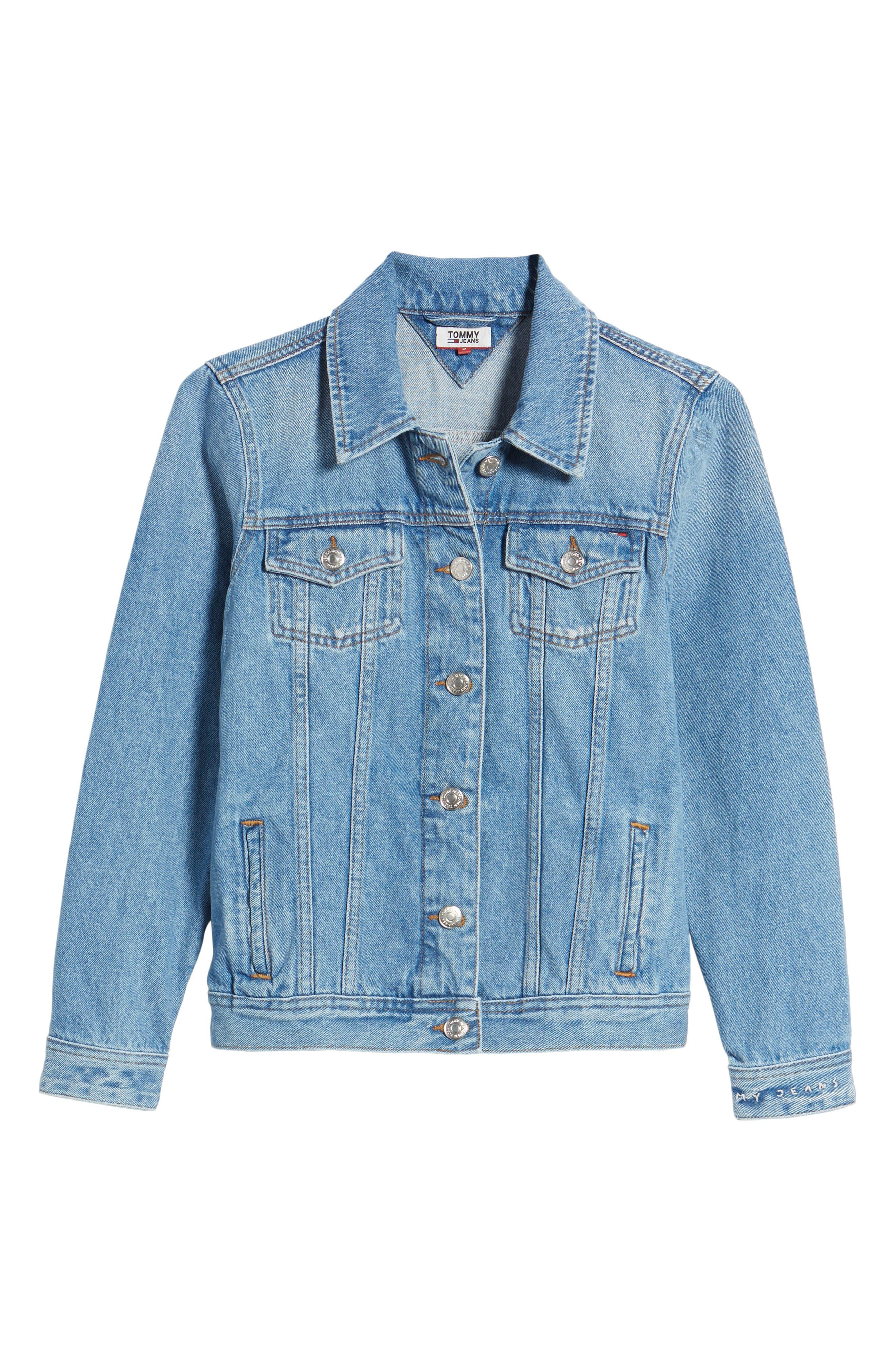 Denim Trucker Jacket,                             Alternate thumbnail 7, color,                             Tommy Jeans Light Blue Rigid