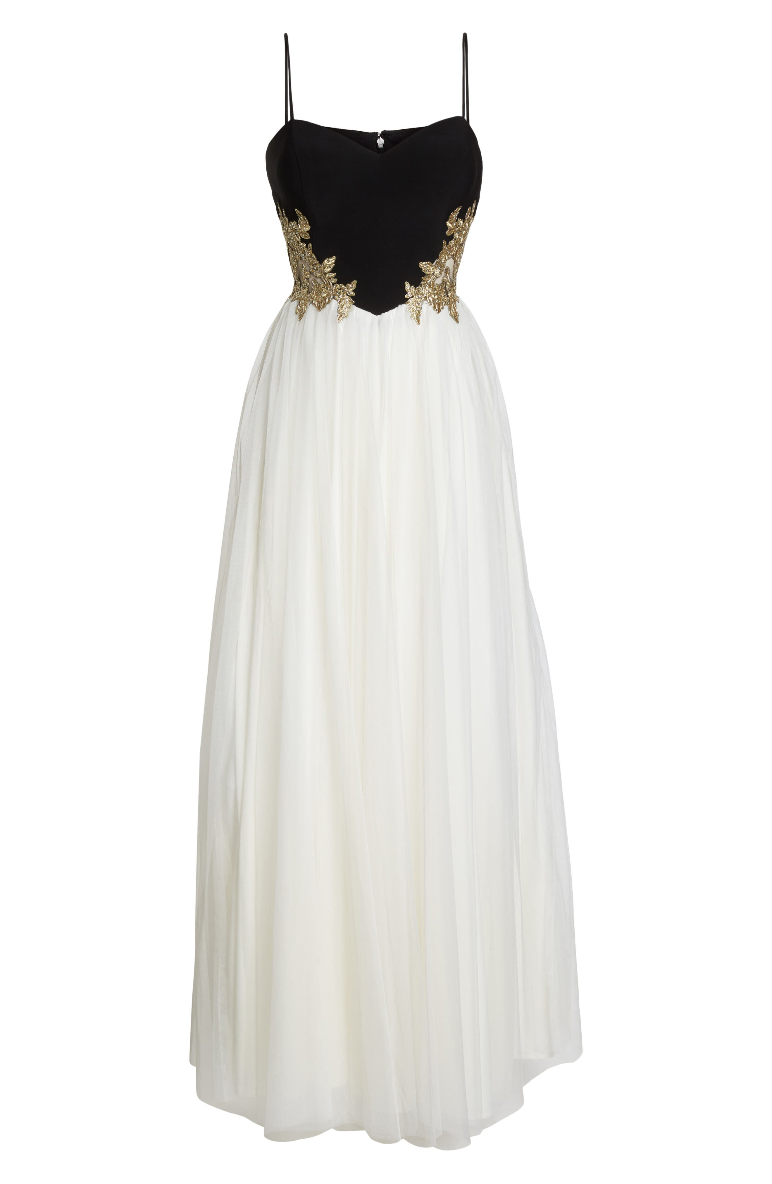 Blondie Nights Embellished Tulle Gown,                             Alternate thumbnail 6, color,                             Black/ Ivory/ Gold
