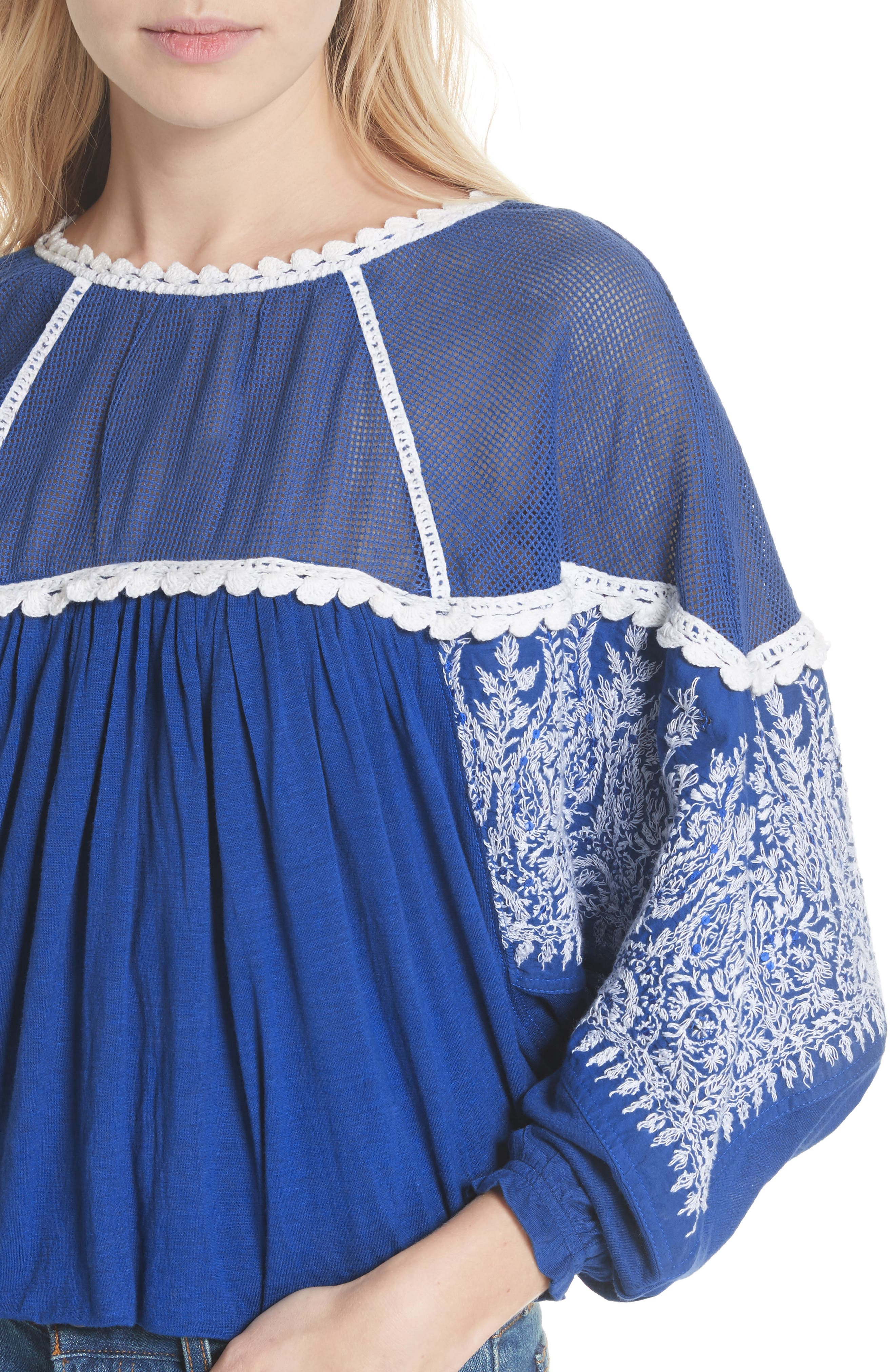 Carly Embroidered Blouse,                             Alternate thumbnail 4, color,                             Blue