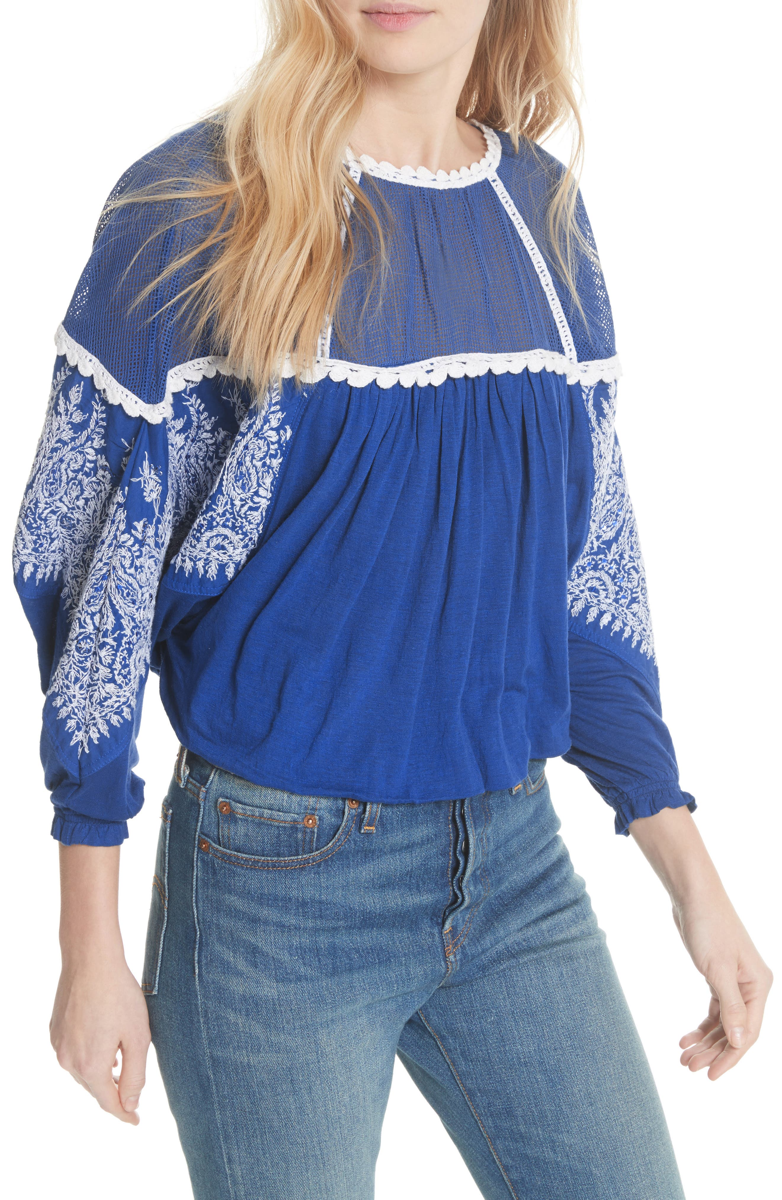 Carly Embroidered Blouse,                         Main,                         color, Blue