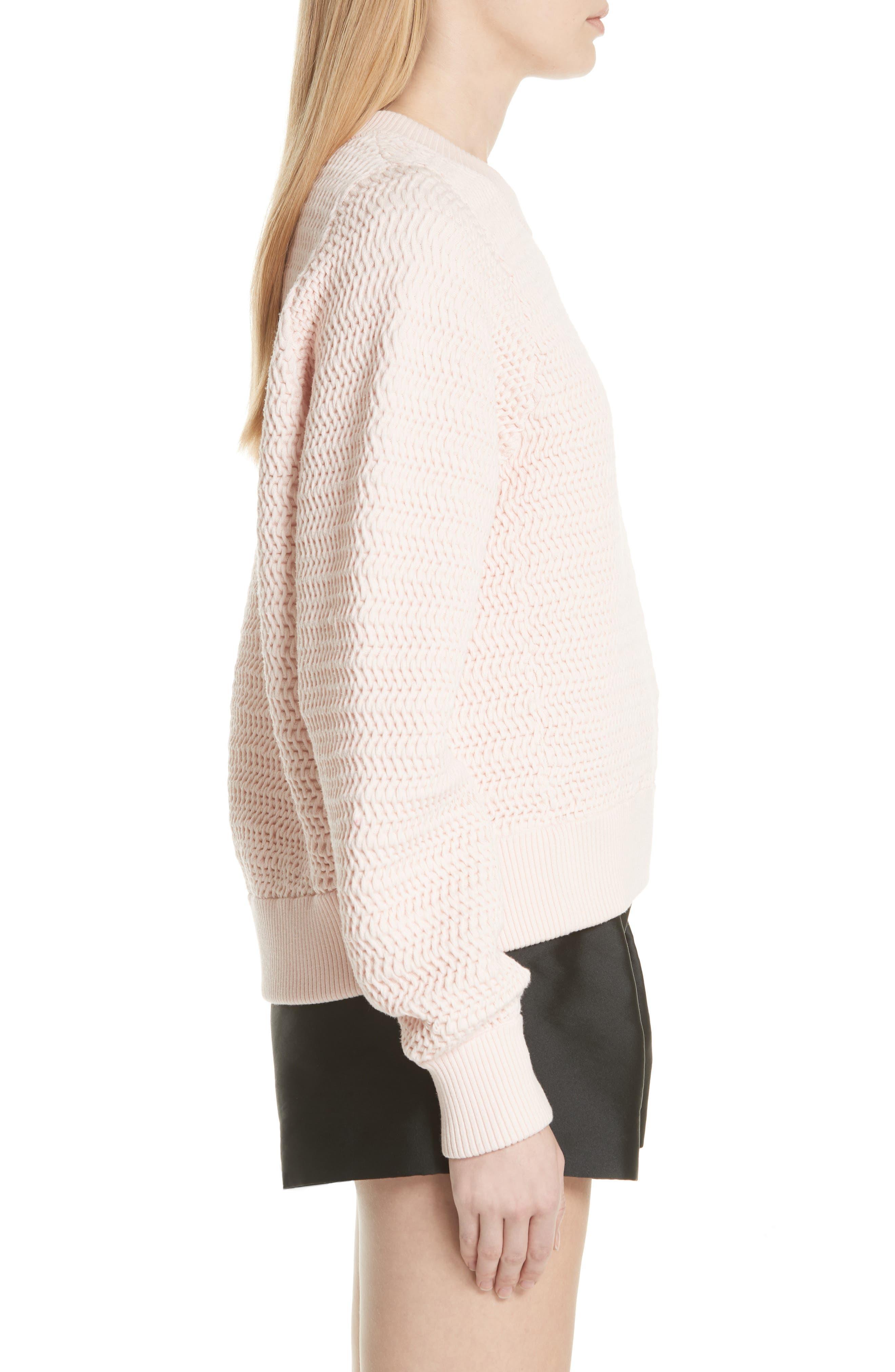 Faux Plait Silk Blend Cocoon Pullover,                             Alternate thumbnail 3, color,                             Powder Pink