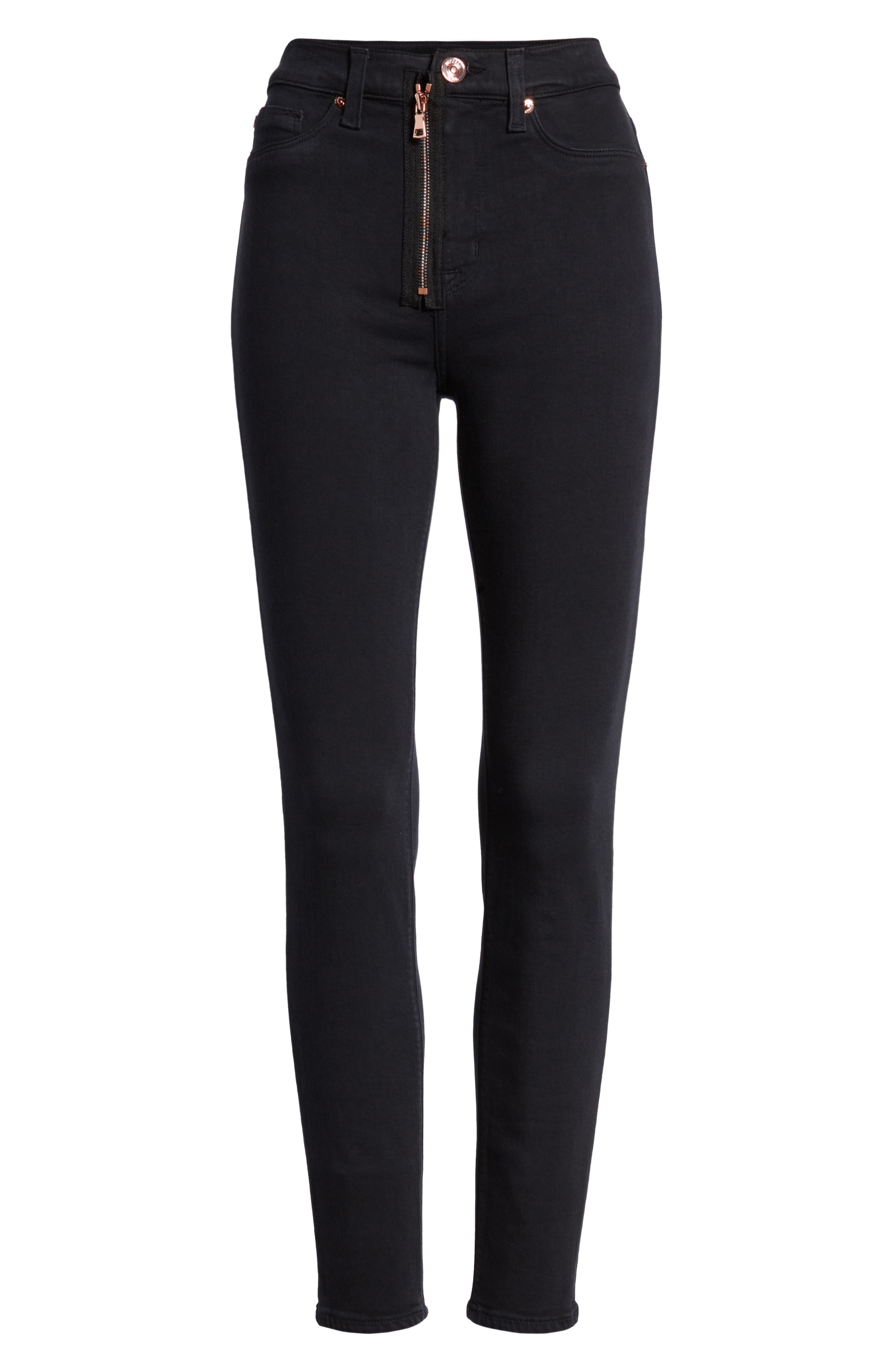 Barbara Exposed Zip High Waist Ankle Skinny Jeans,                             Alternate thumbnail 7, color,                             Maniac