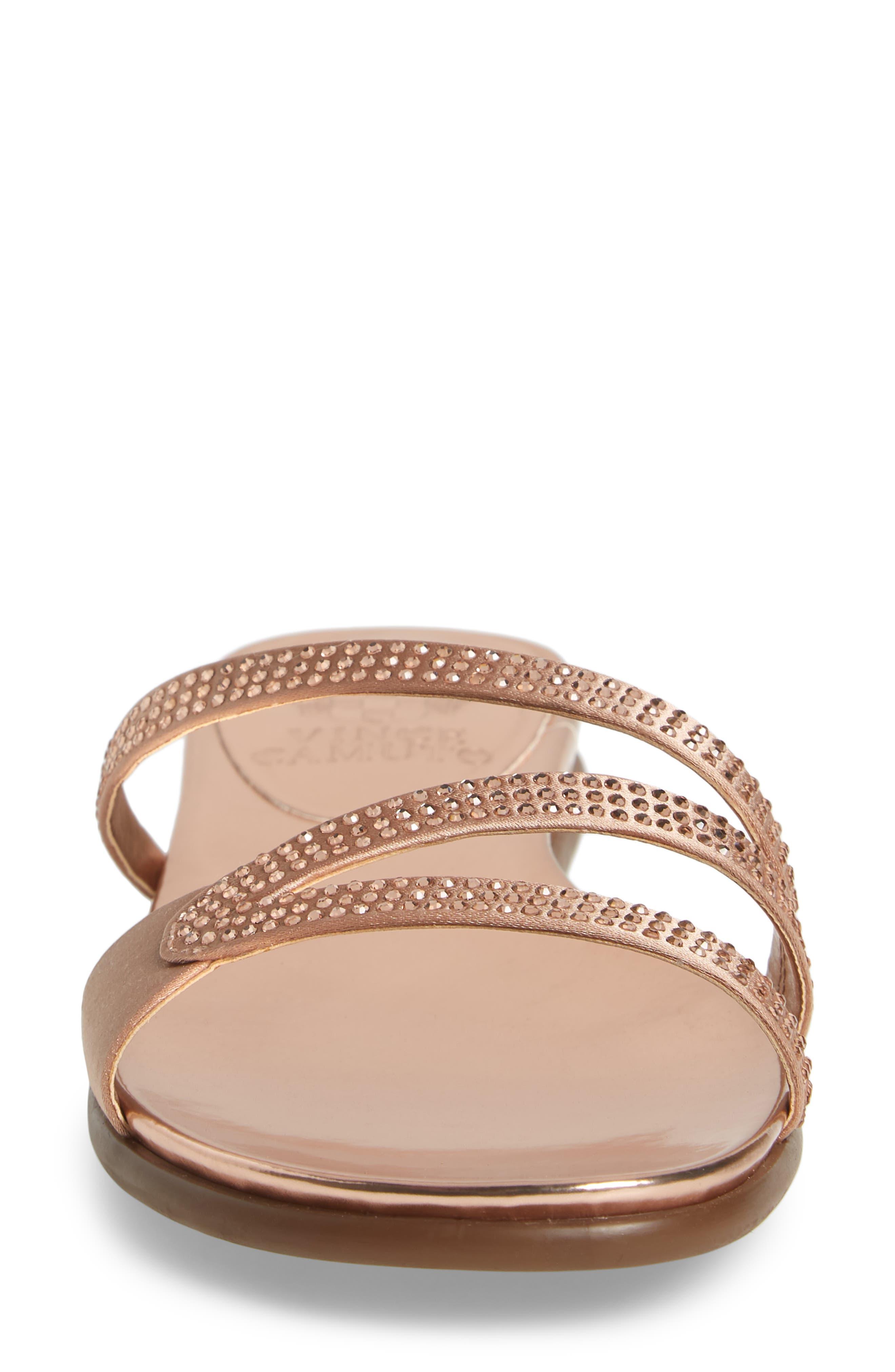 Elouisa Crystal Slide Sandal,                             Alternate thumbnail 4, color,                             Pink Bisque Satin